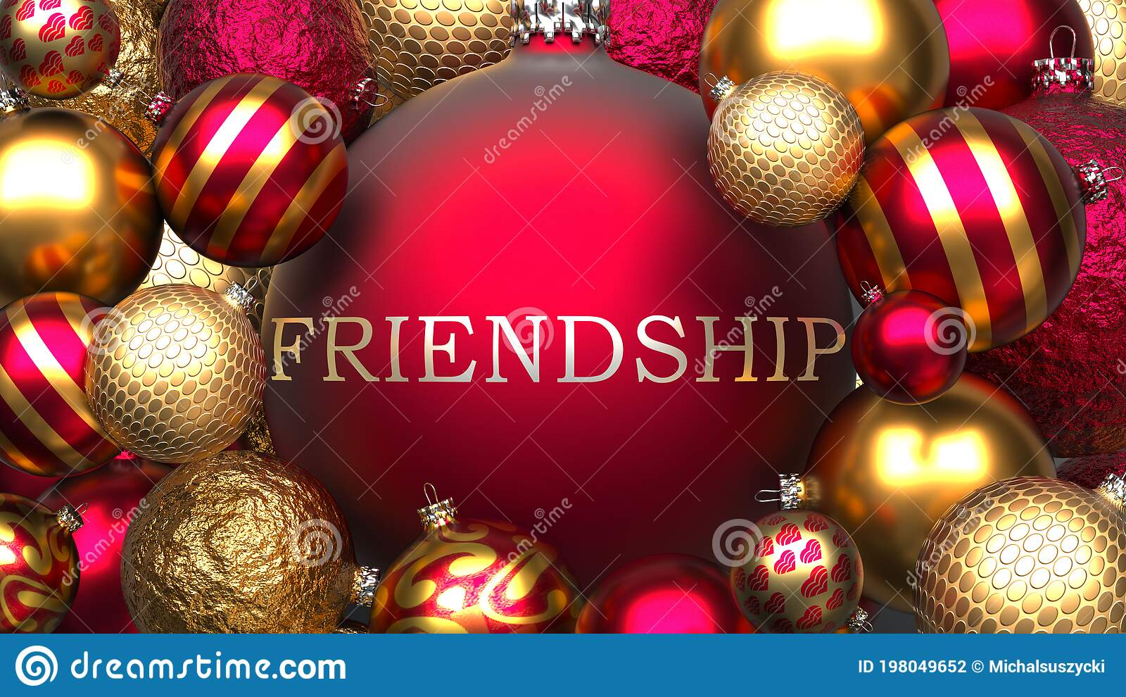 Friendship and Xmas, Pictured As Red and Golden, Luxury Christmas ...