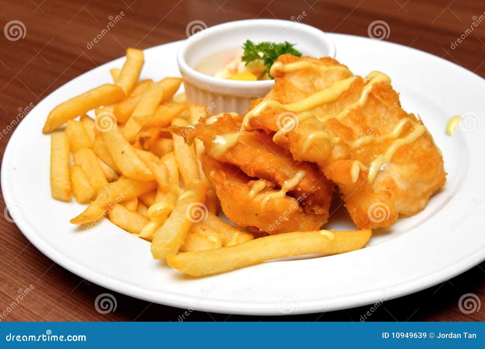 Fries рыб выкружек французские зажаренные