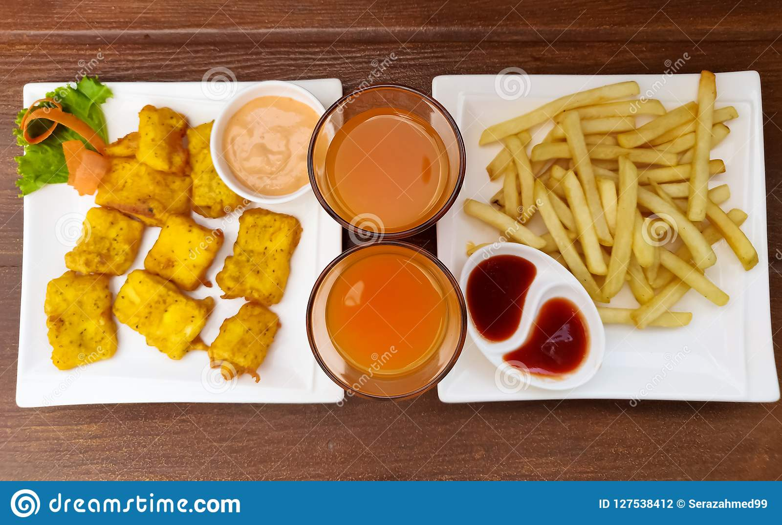 Fries, Pakora and Juice