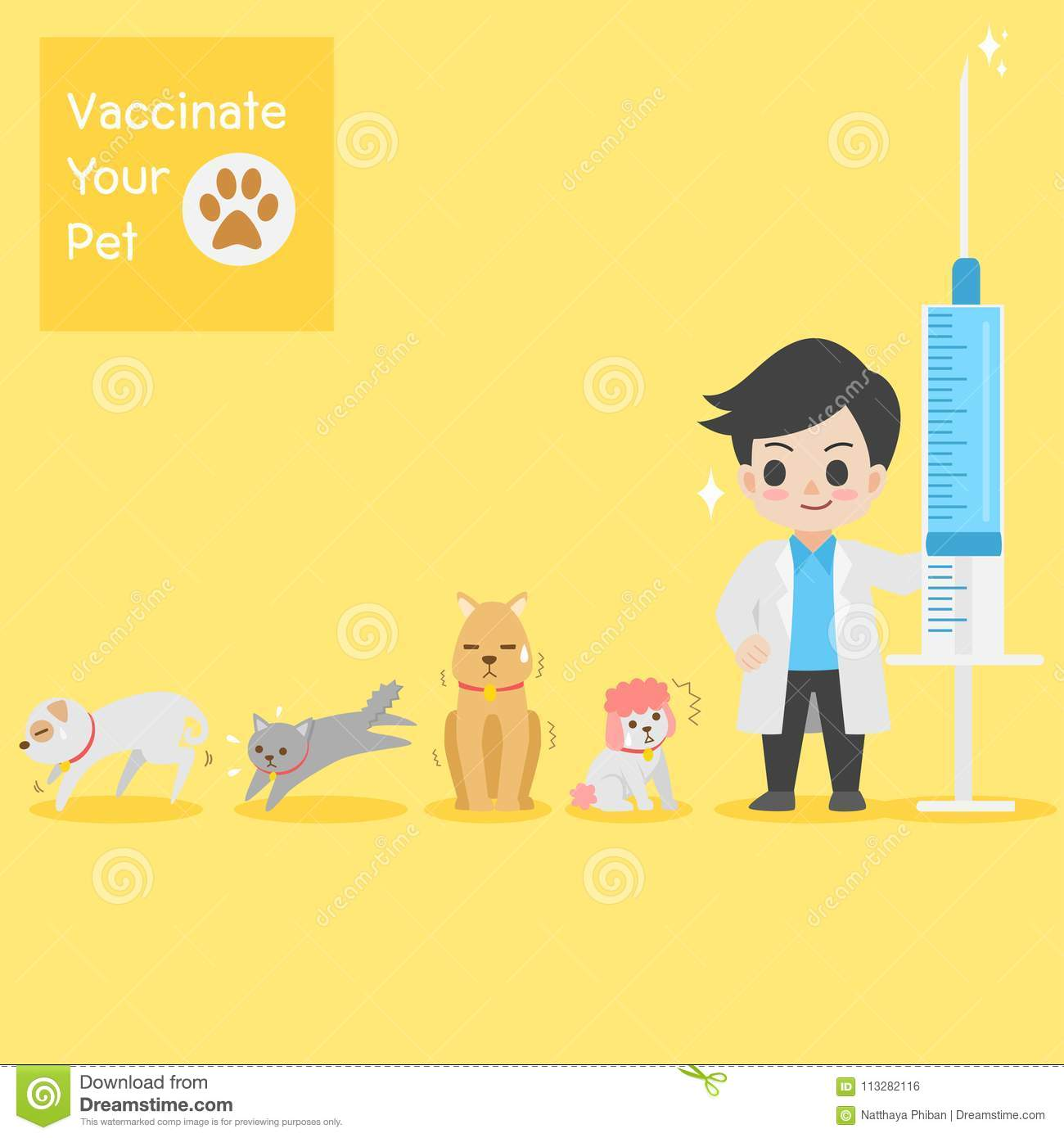 Frighten cute dogs, cat, doctor with injection needle character for vaccinate pets