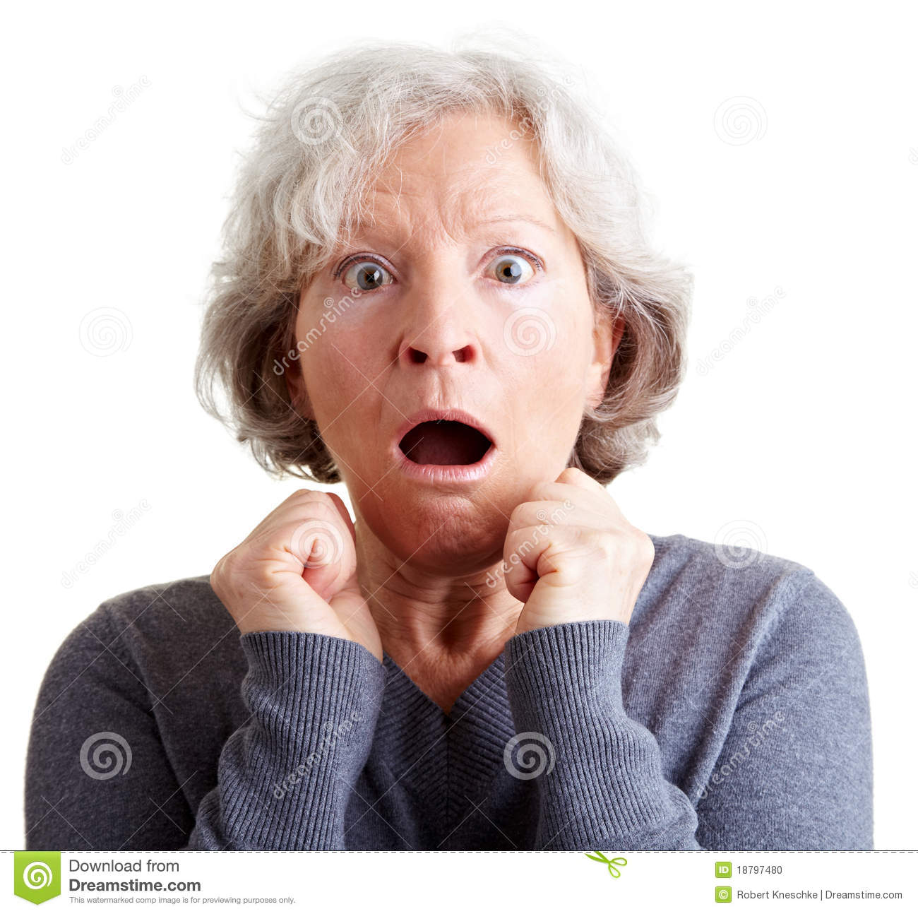 Frightened Elderly Woman Shocked Stock Photo - Image of ...