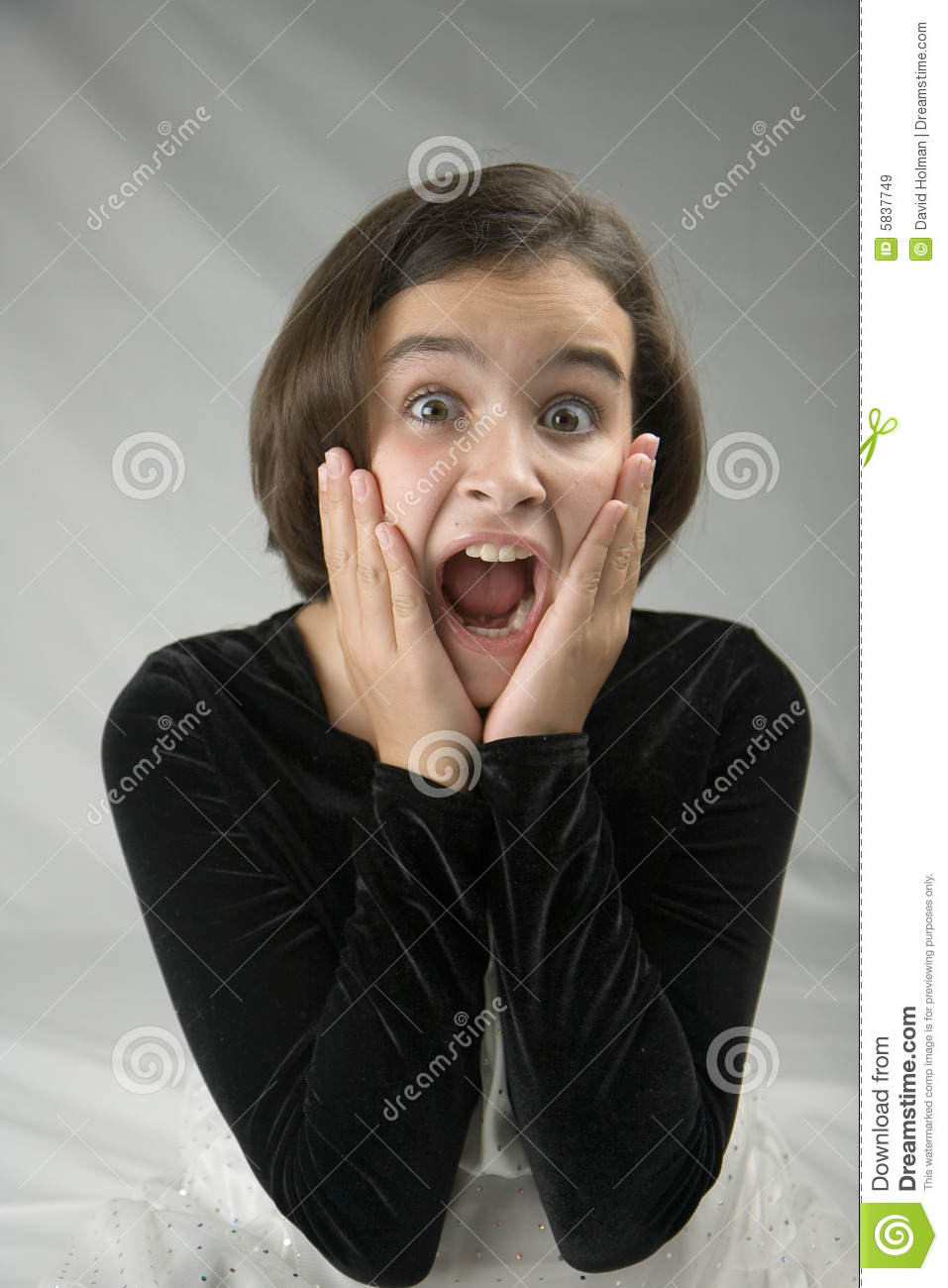 Frightened Girl stock image. Image of open, hands, formal ...