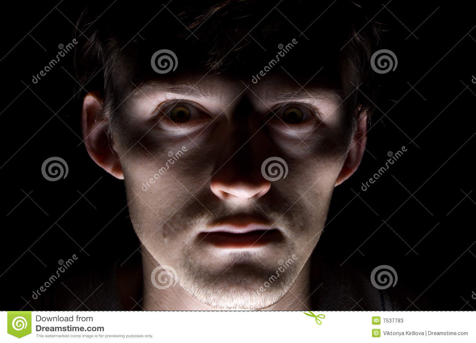 frightened man on black stock photos image 7537783