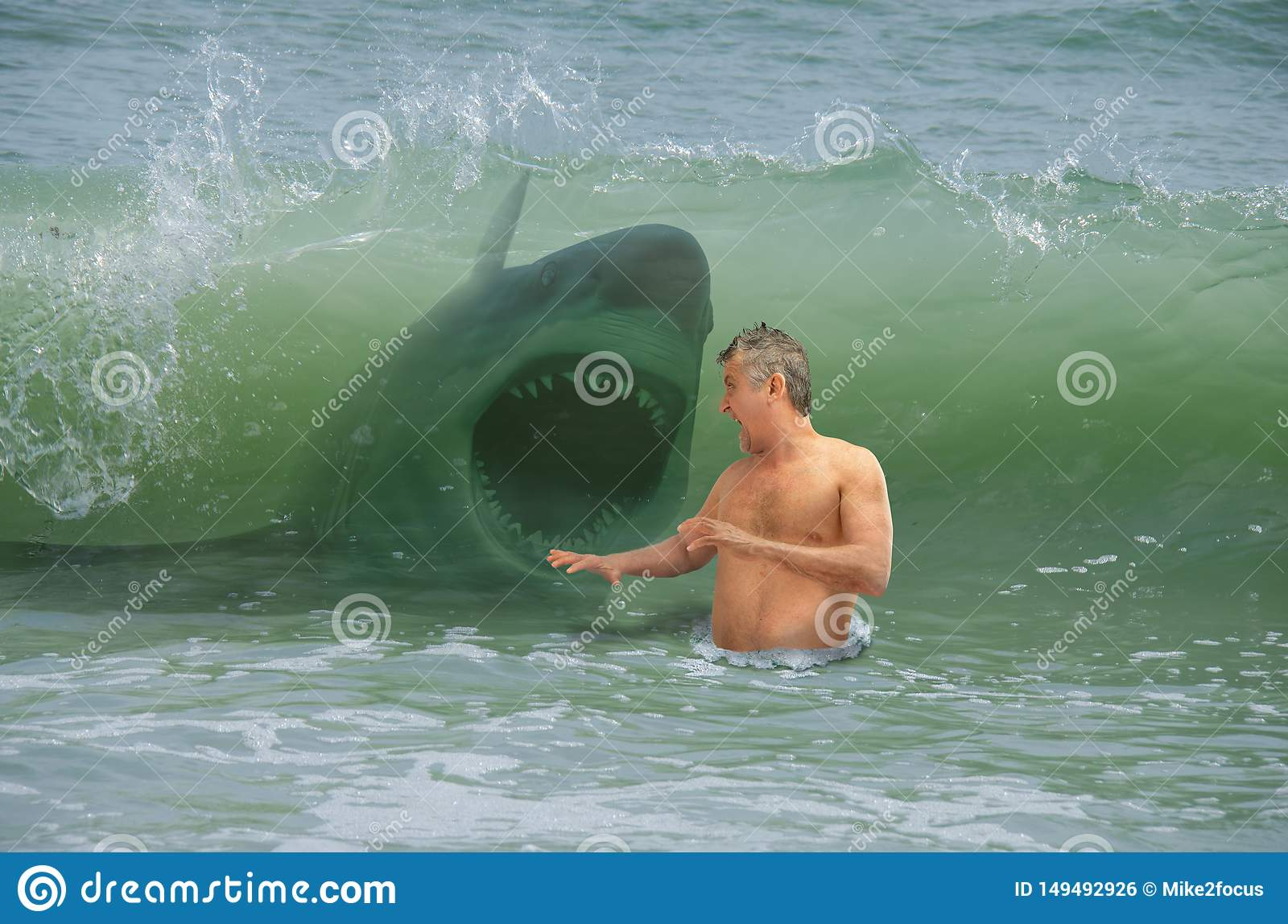 Frightened swimmer man getting hit by wave with attacking shark