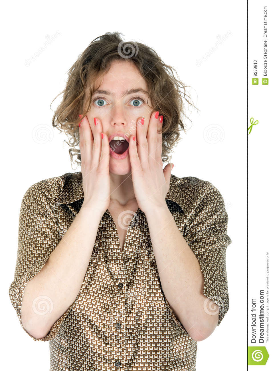 Frightened woman stock image. Image of isolated ...