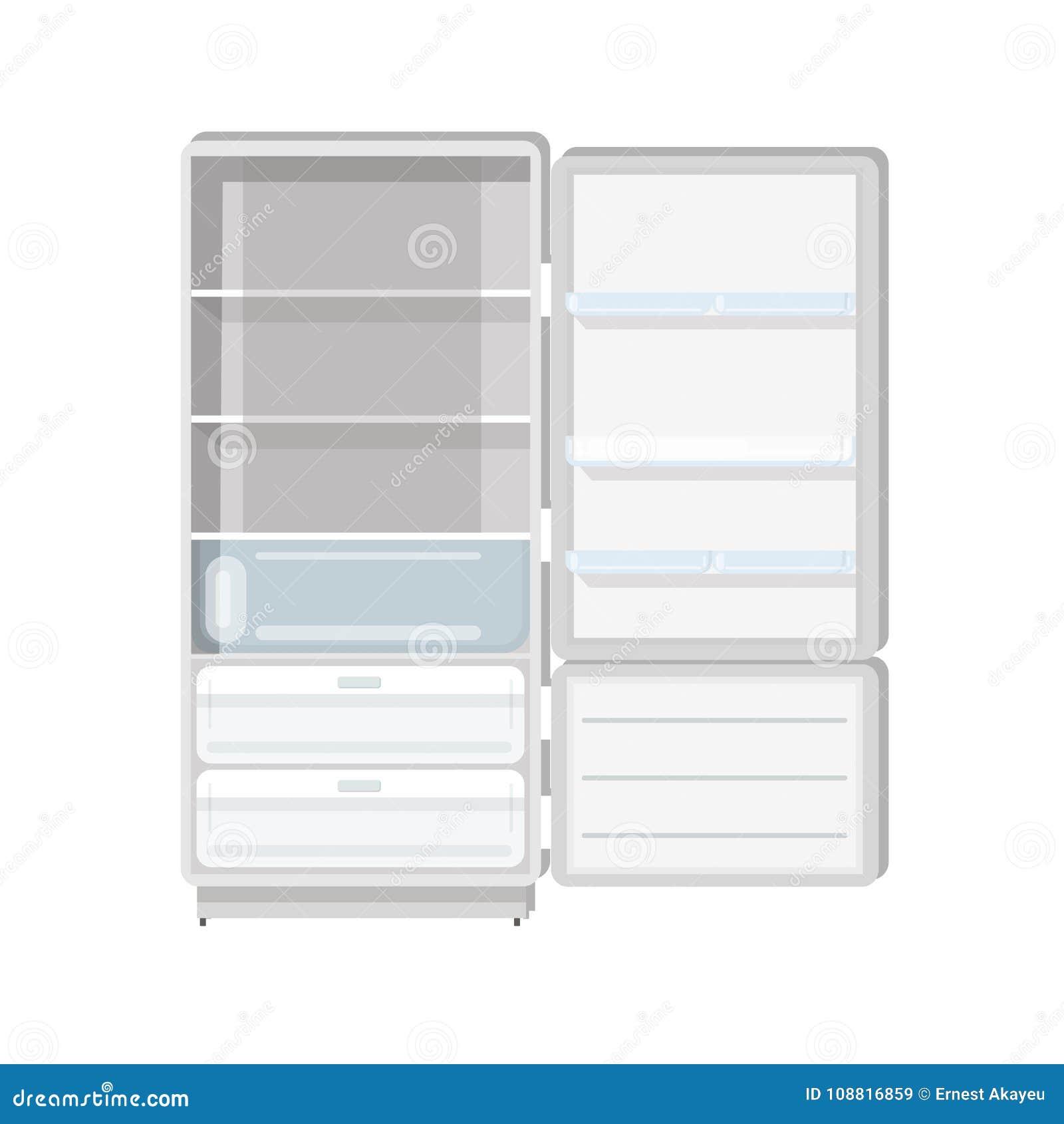 Frigorifero vuoto con la porta, gli scaffali aperti ed i vassoi isolati su fondo bianco Frigorifero con il congelatore famiglia o