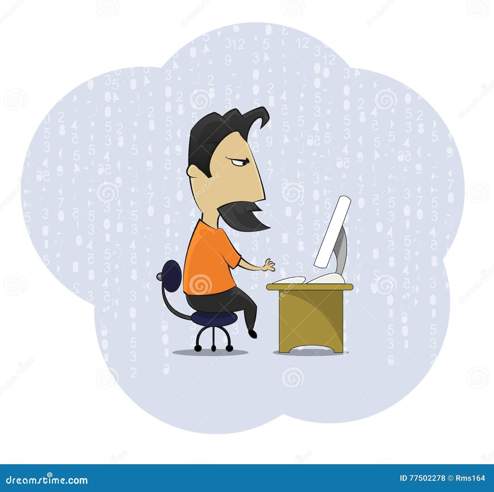 Friki del adicto al trabajo de la Edad Media que se sienta en el escritorio del ordenador