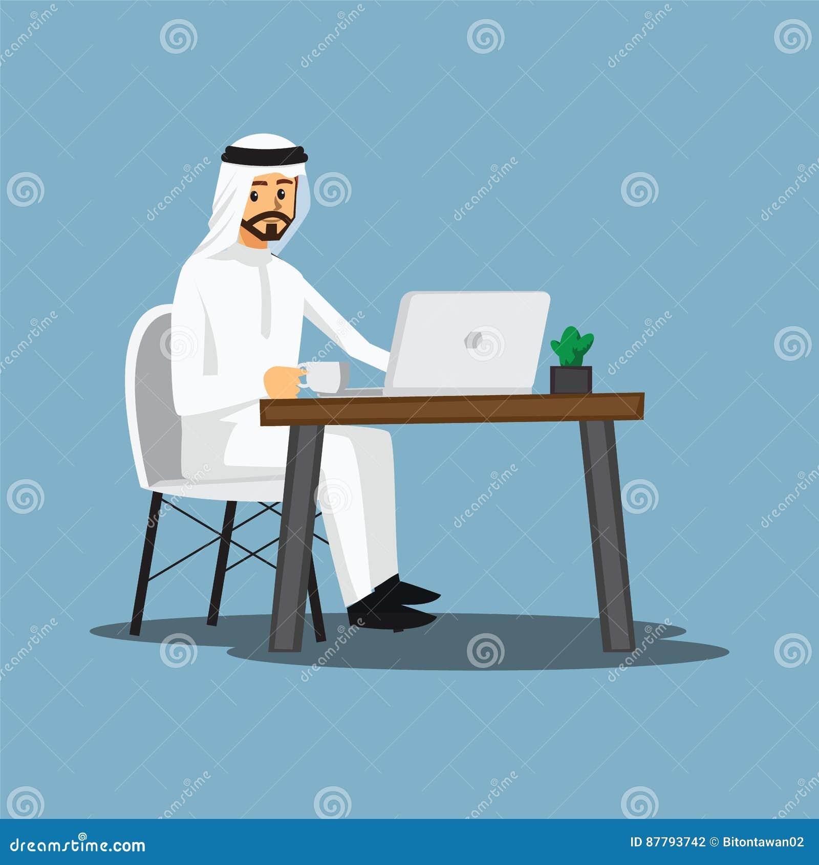Frilans- bärare, arab eller formgivare som hemma arbetar, vektor
