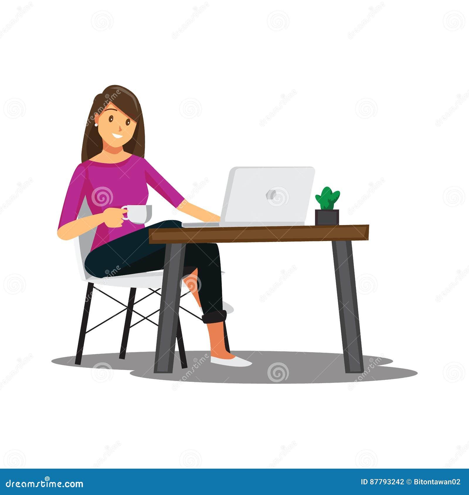 Frilans- bärare eller formgivare som hemma arbetar, vektortecken