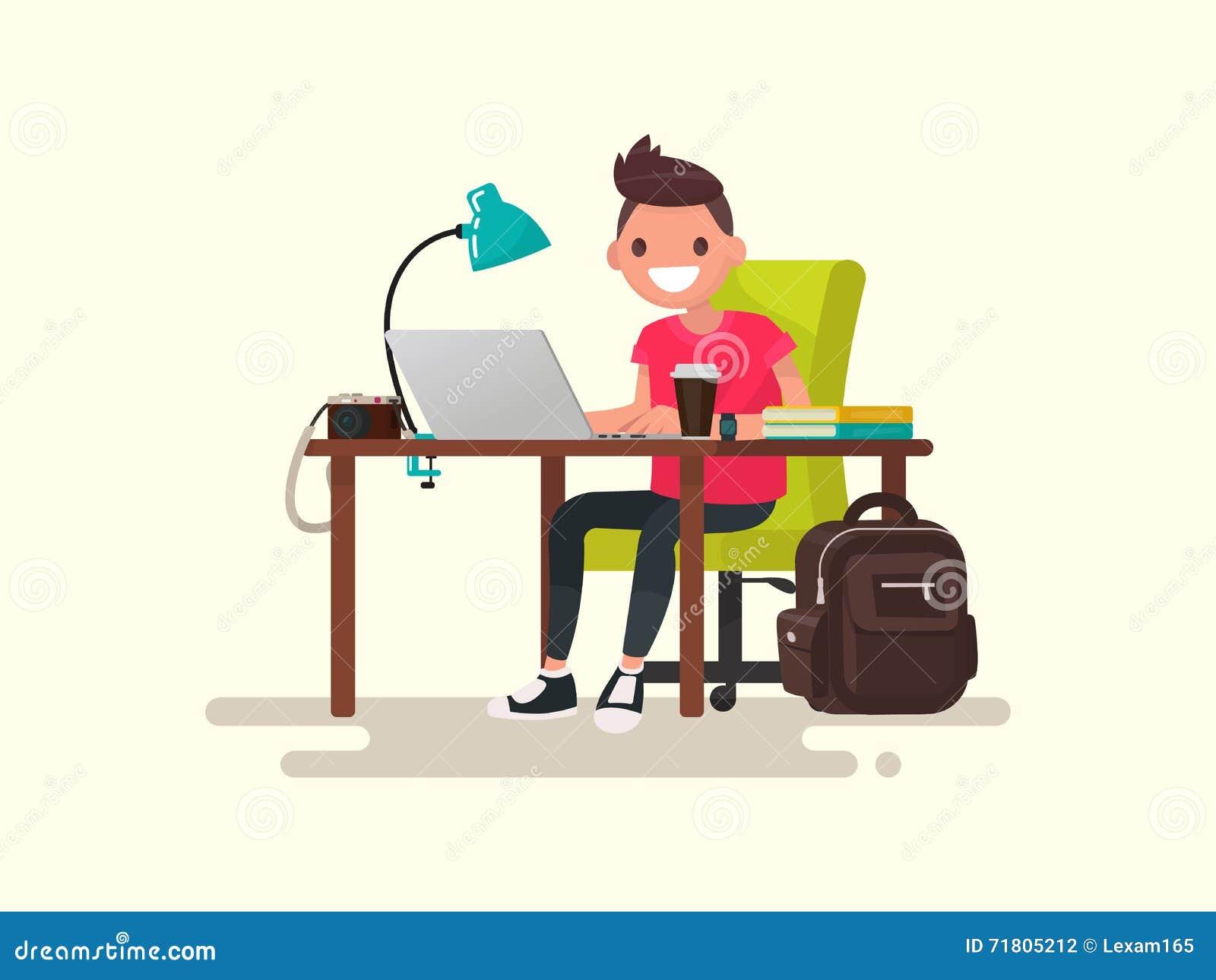 Frilans Fotograf eller formgivare bak ett skrivbord Vektor dåligt