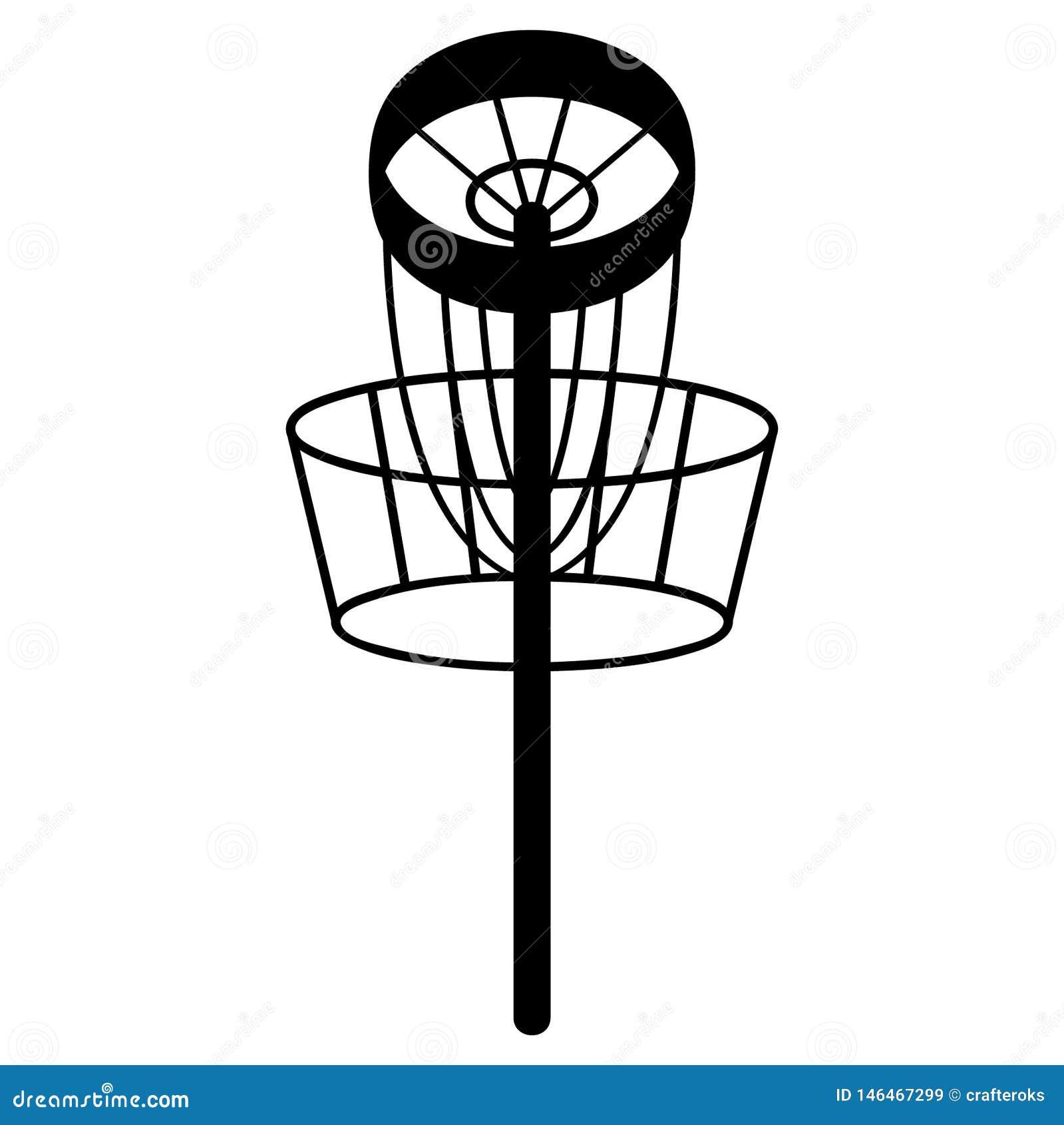 Frisbee vectoreps van het schijfgolf getrokken Hand, Vector, Eps, Embleem, Pictogram, crafteroks, silhouetillustratie voor versch