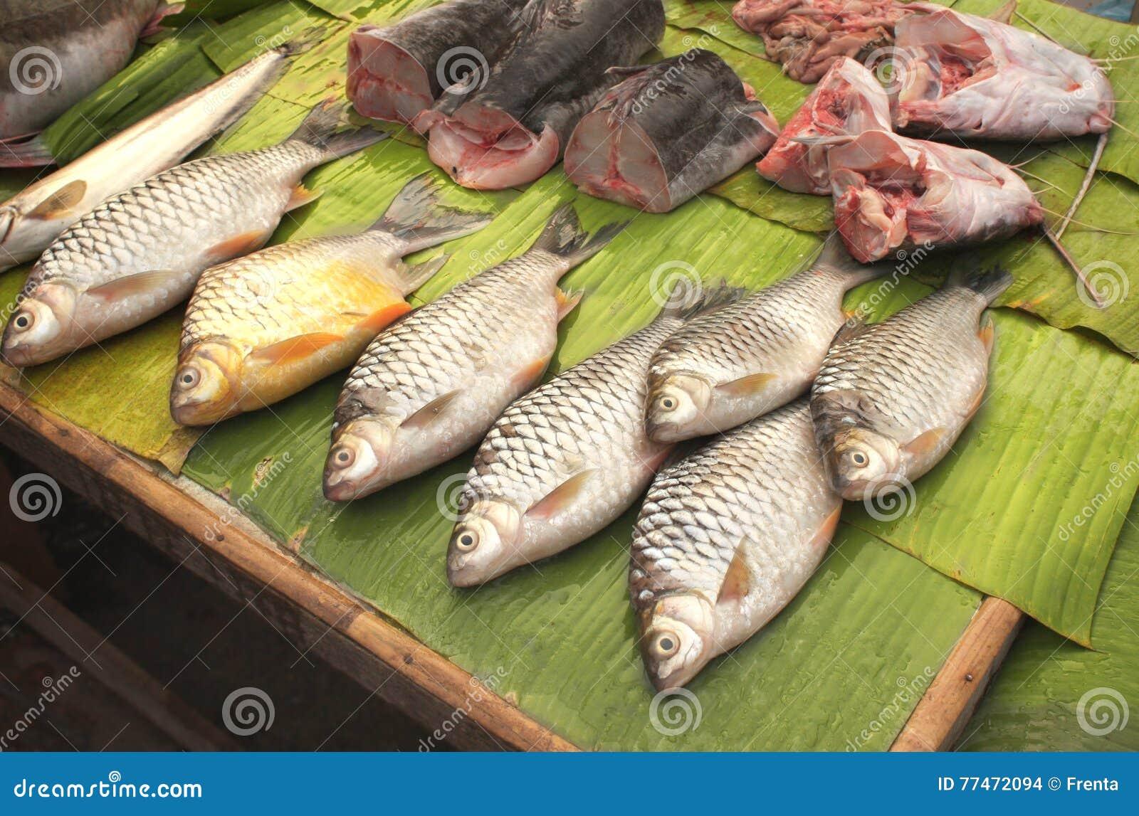 frisch gefangener wels auf palmblatt in einem fischmarkt luang prab stockfoto bild von blatt. Black Bedroom Furniture Sets. Home Design Ideas