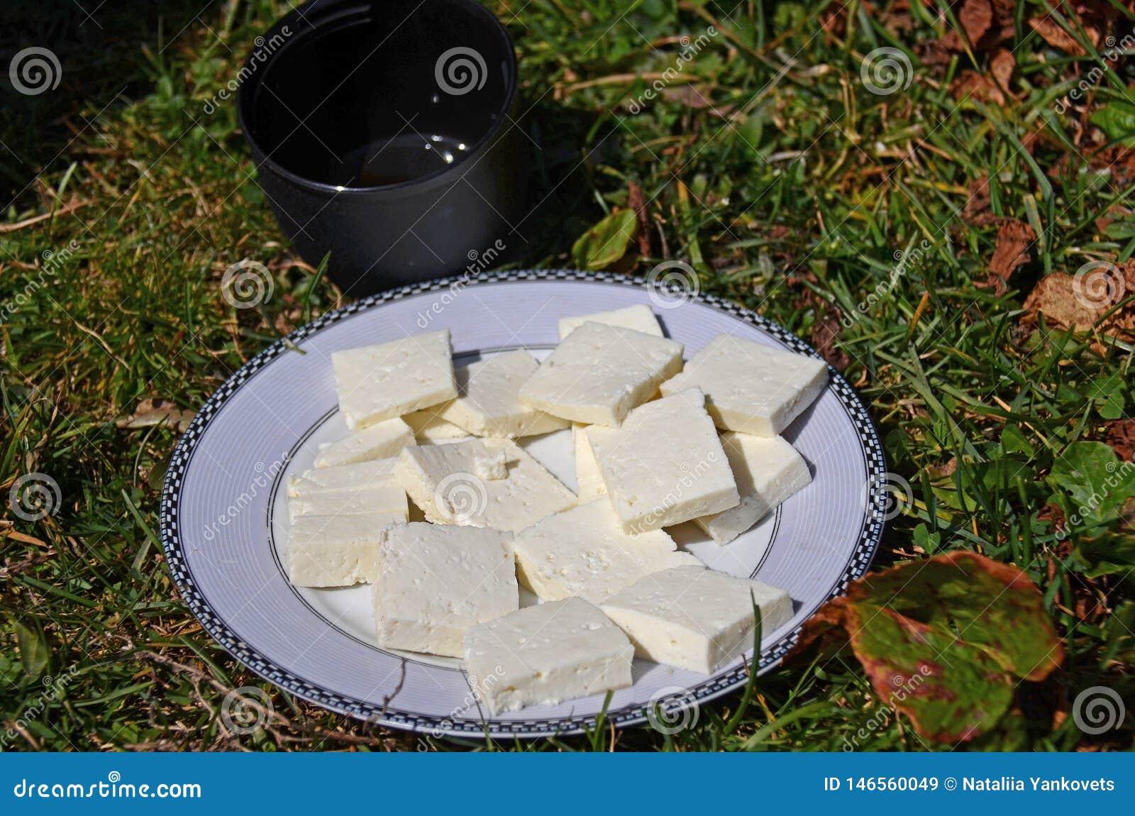 Frisch zubereitetes goat' s-Käse ist auf einer runden weißen Platte nahe bei einer schwarzen Tasse Tee stehend auf dem Gras