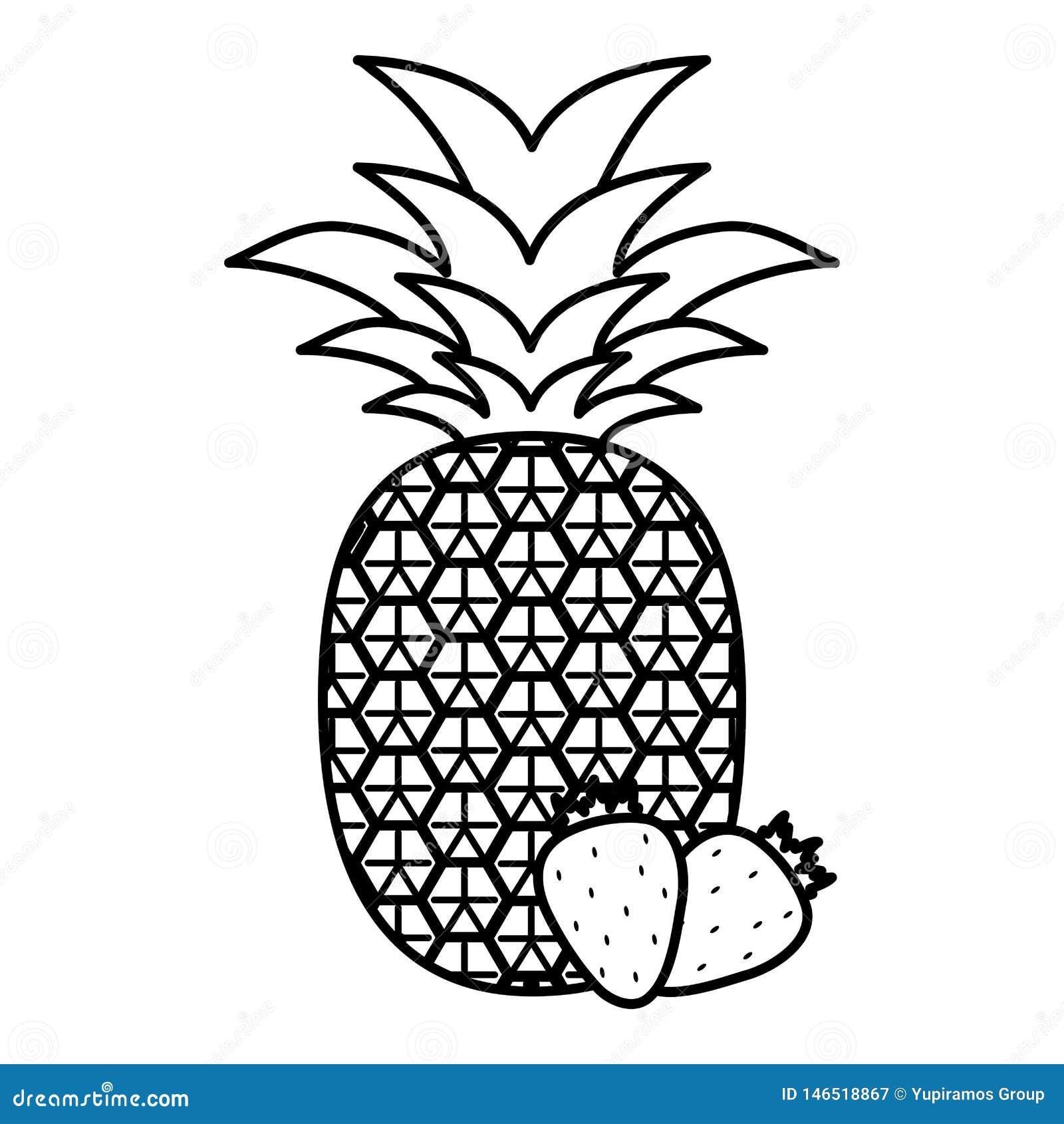 Frische Ananas mit Erdbeeren