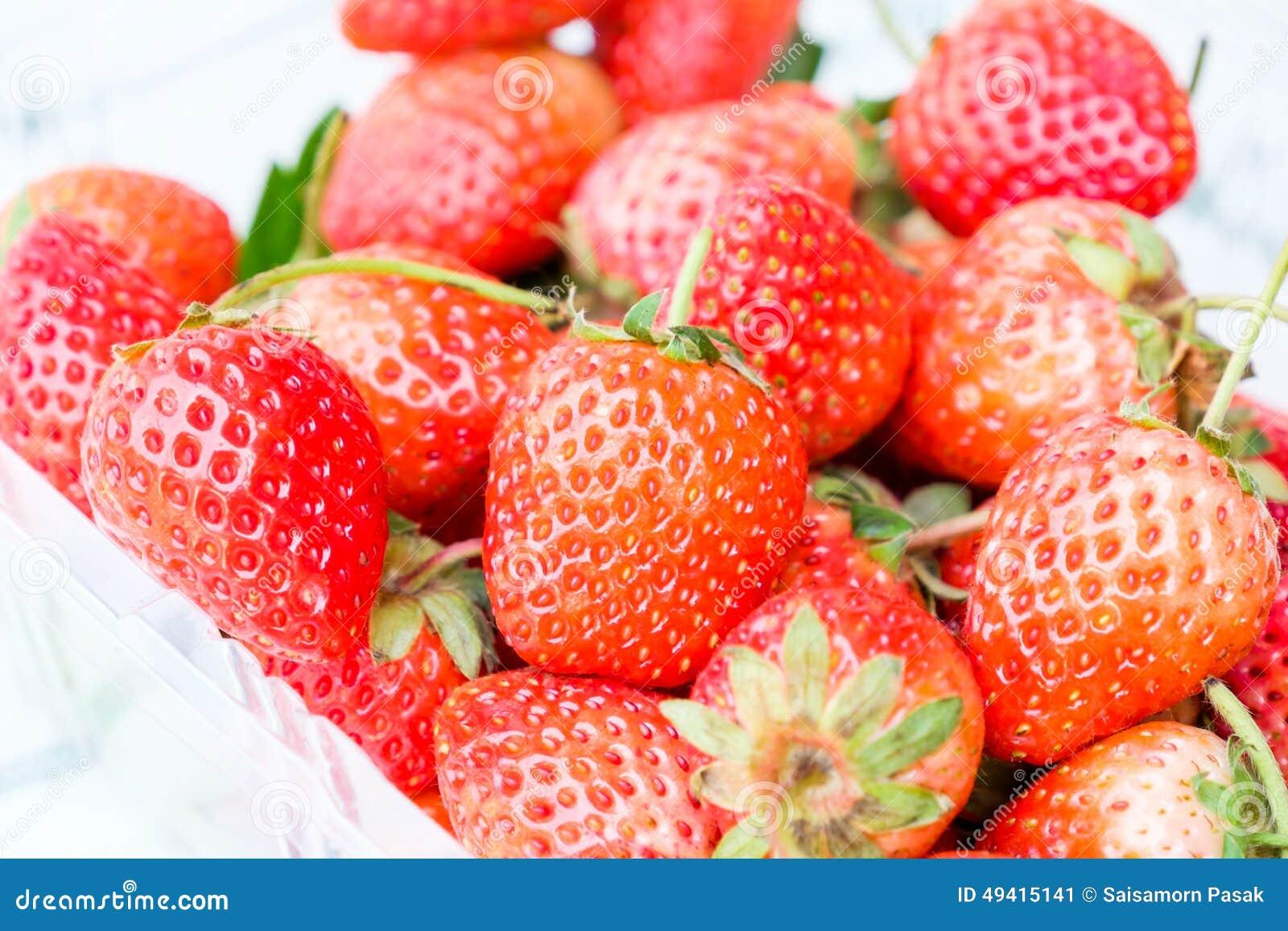 Download Frische Erdbeeren stockbild. Bild von gesund, plastik - 49415141