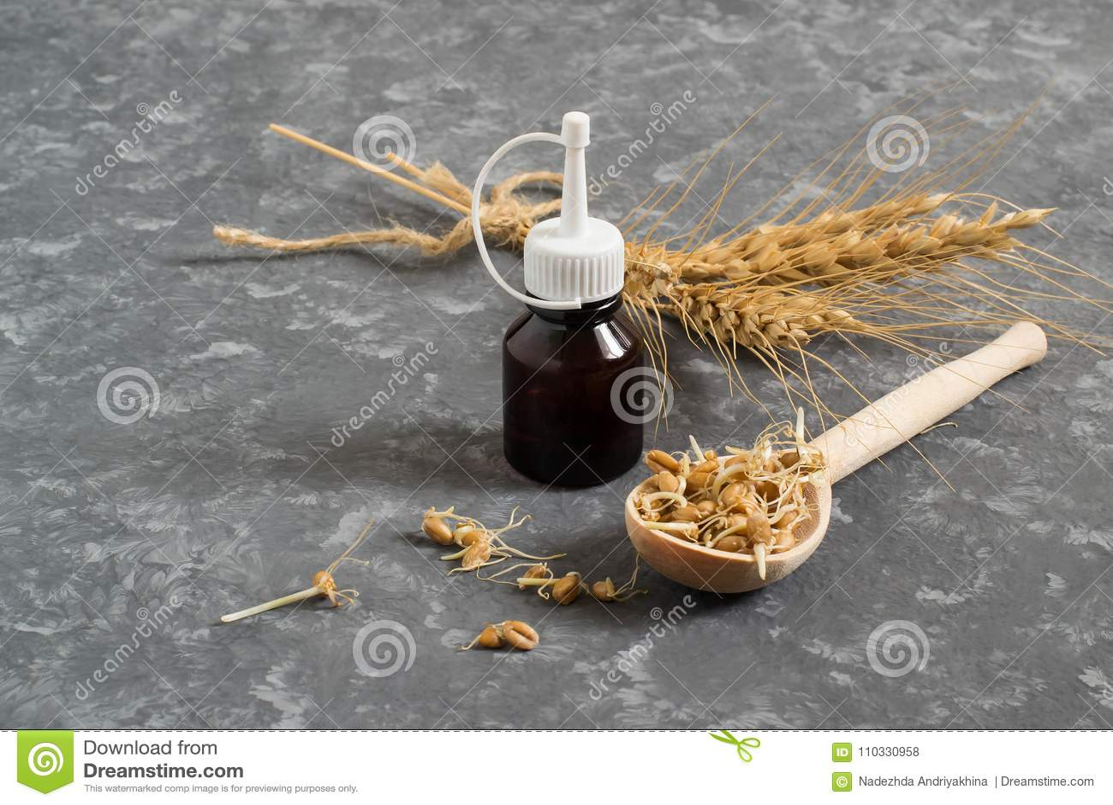 Frische gekeimte Weizensamen und Weizenkeimöl