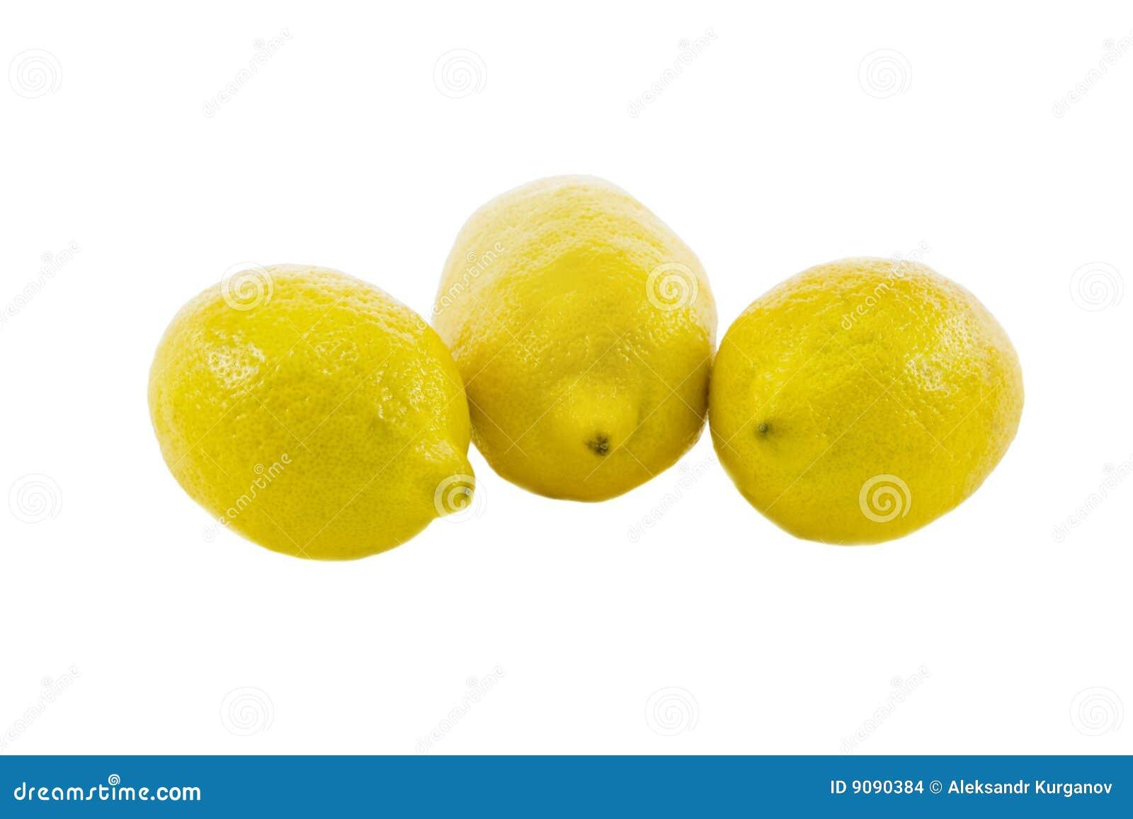 Frische gelbe Zitrone drei