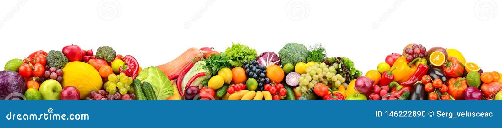 Frische Obst und Gemüse des Panoramas lokalisiert auf weißem Hintergrund