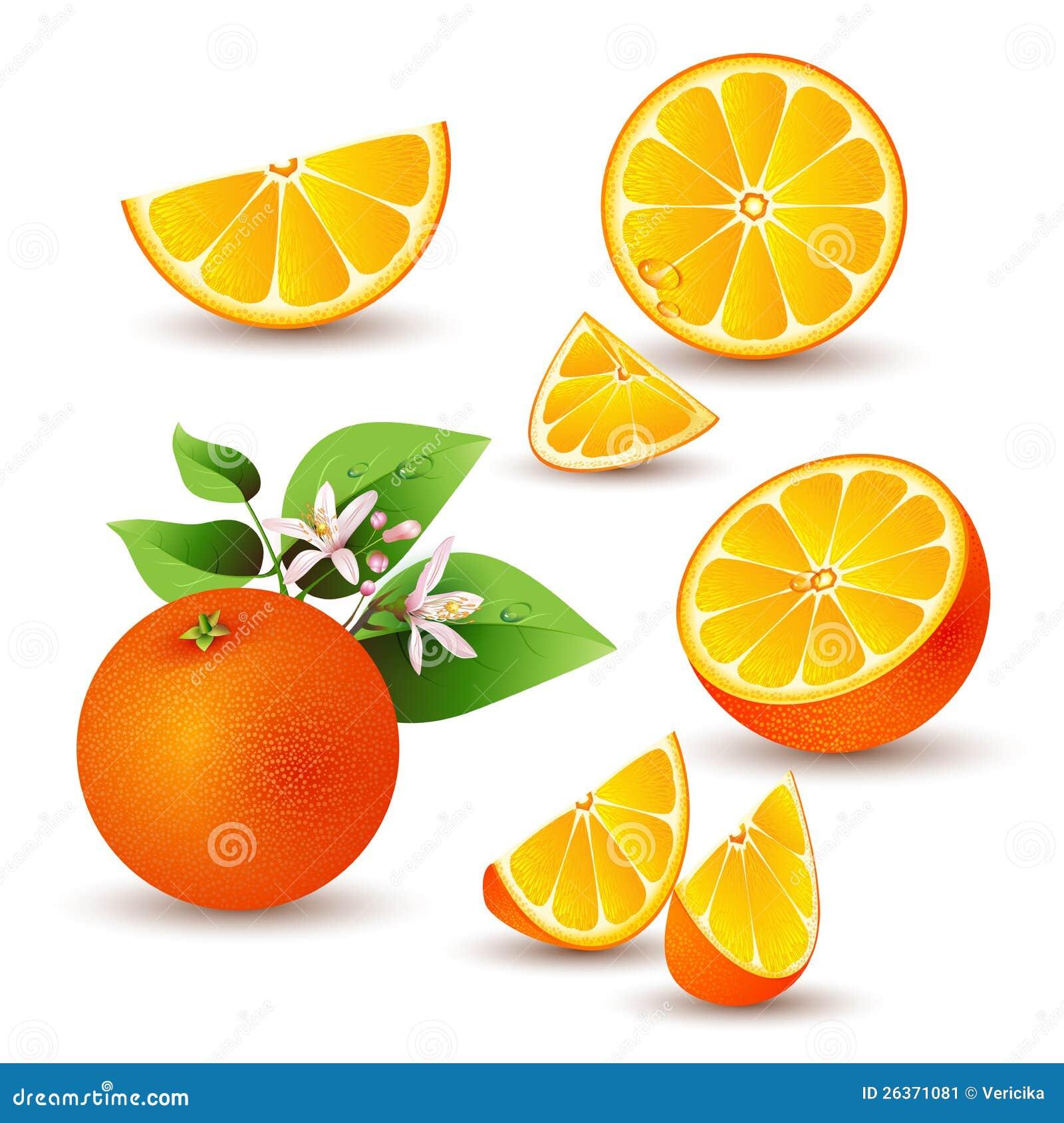 Frische Orange mit Blumen