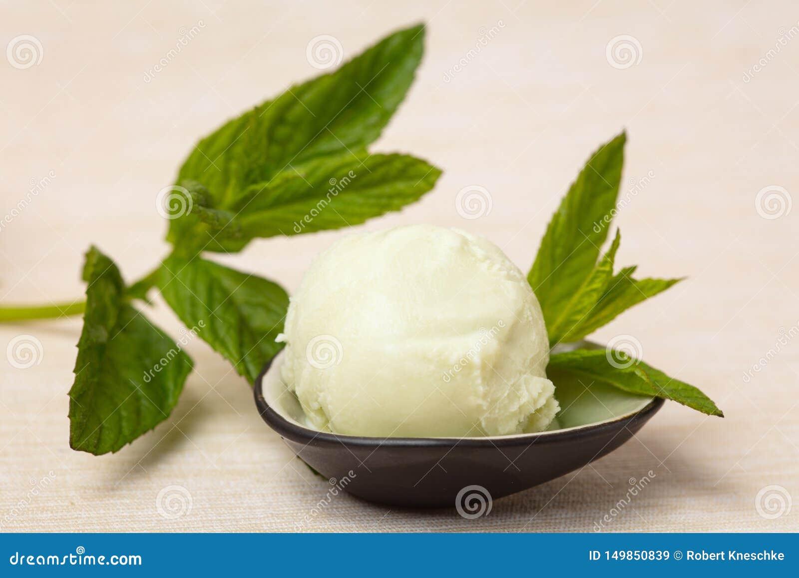 Frische Schaufel des tadellosen Eises mit frischer Minze