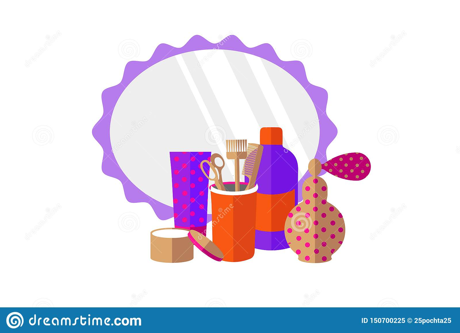 Friseringhjälpmedel, doft, spegel på en vit bakgrund