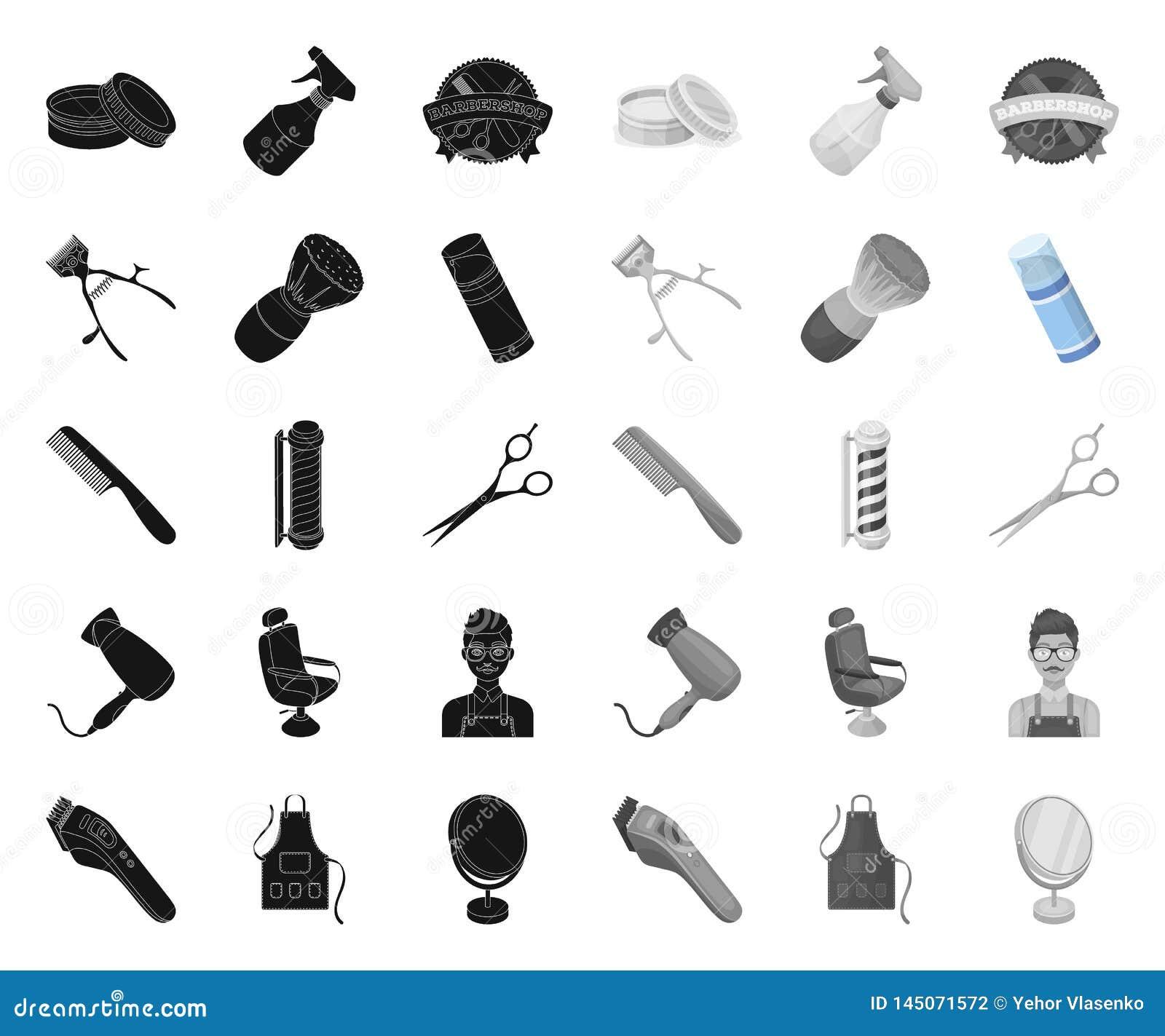 Frisersalong- och utrustningsvart mono symboler i den fastst?llda samlingen f?r design Reng?ringsduk f?r materiel f?r frisyr- och