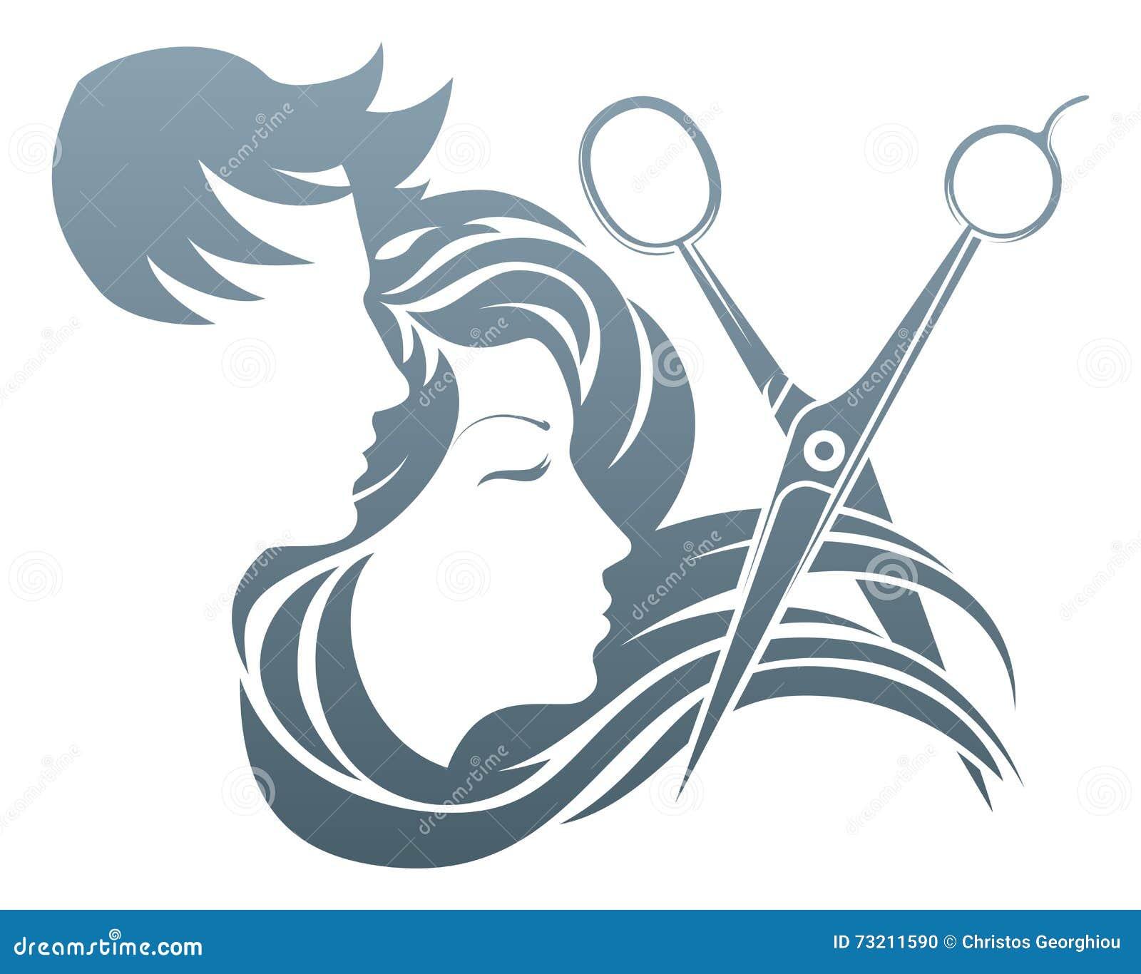 Friseur Man Und Frauen Scheren Konzept Vektor Abbildung