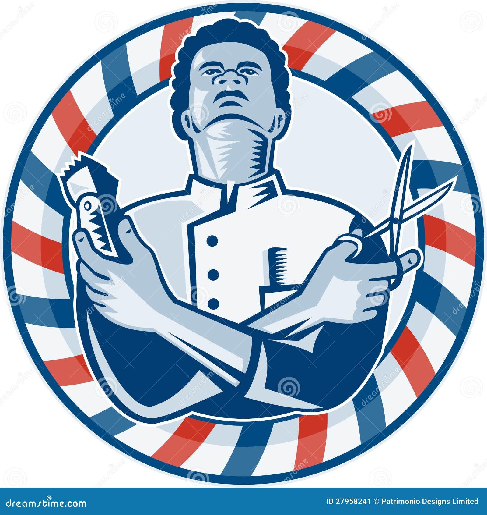 Friseur mit dem Pole-Haar-Klipper und Scheren Retro