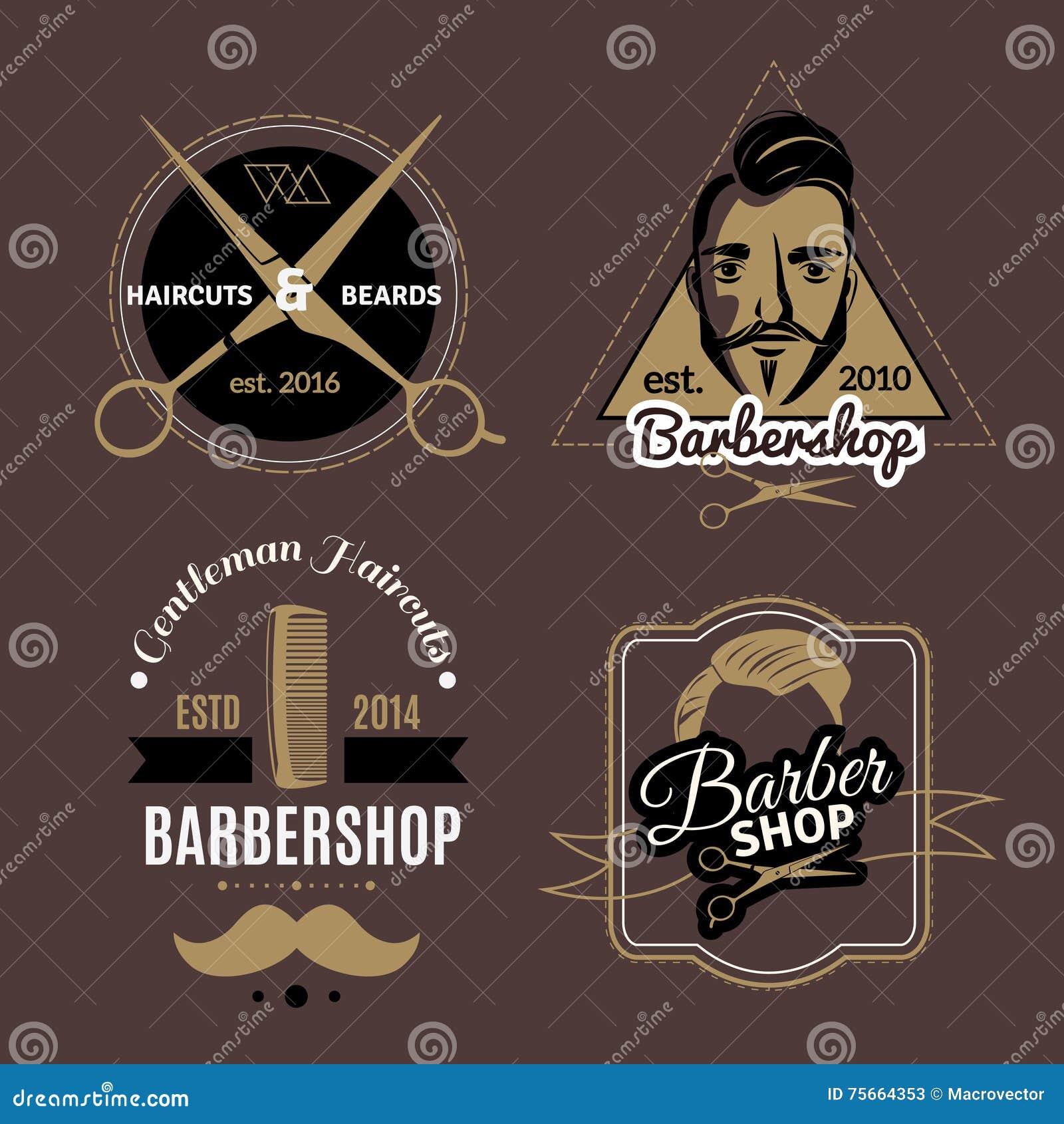 Friseursalon-Embleme eingestellt