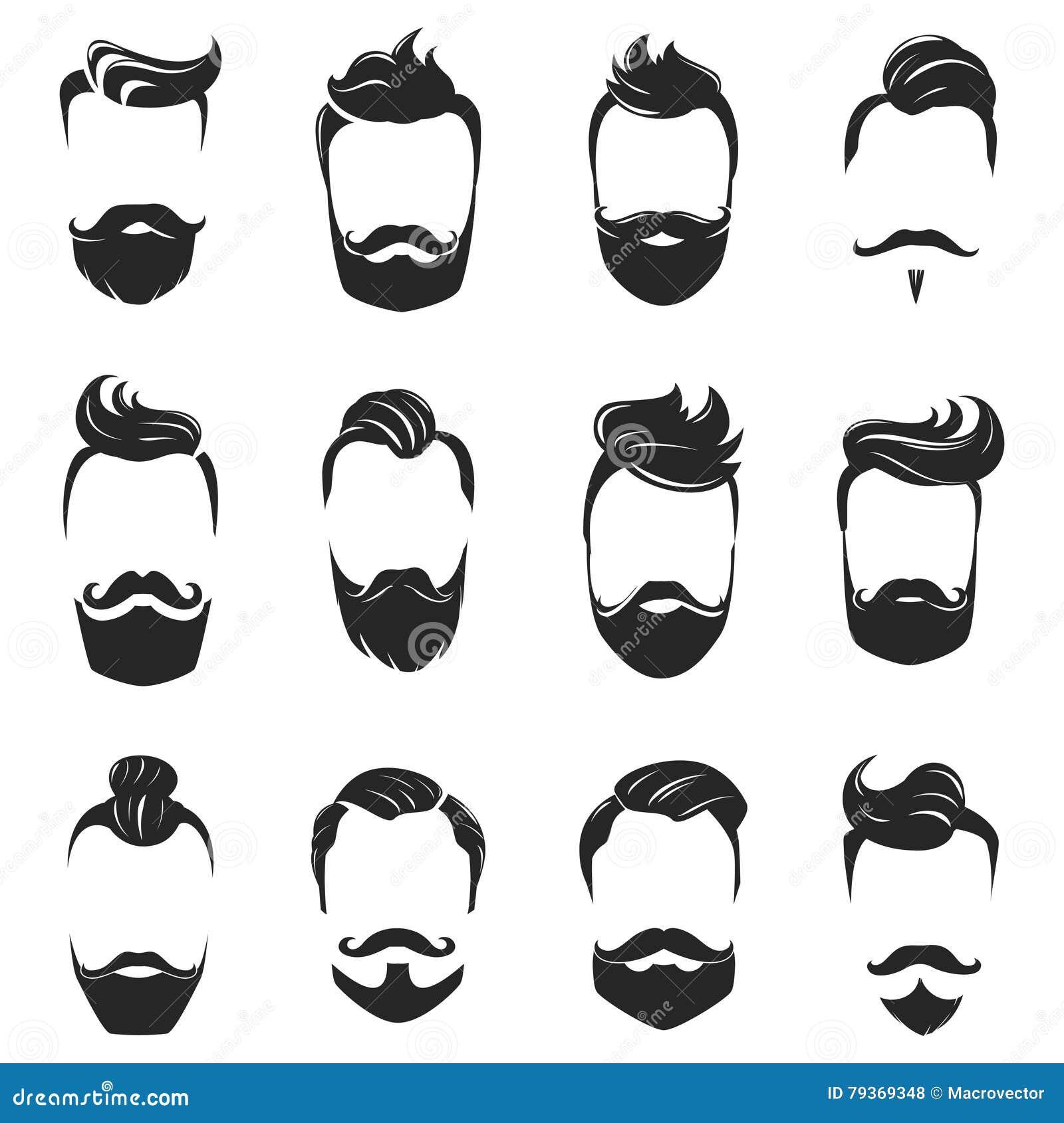 Frisur-Bart Und Haar-Monochrom-Satz Vektor Abbildung