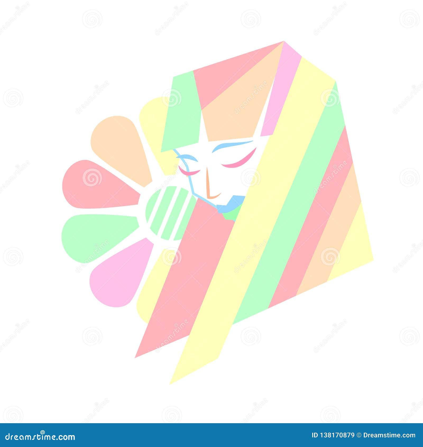 Frisyr för skönhet för pastellfärgade färger geometrisk