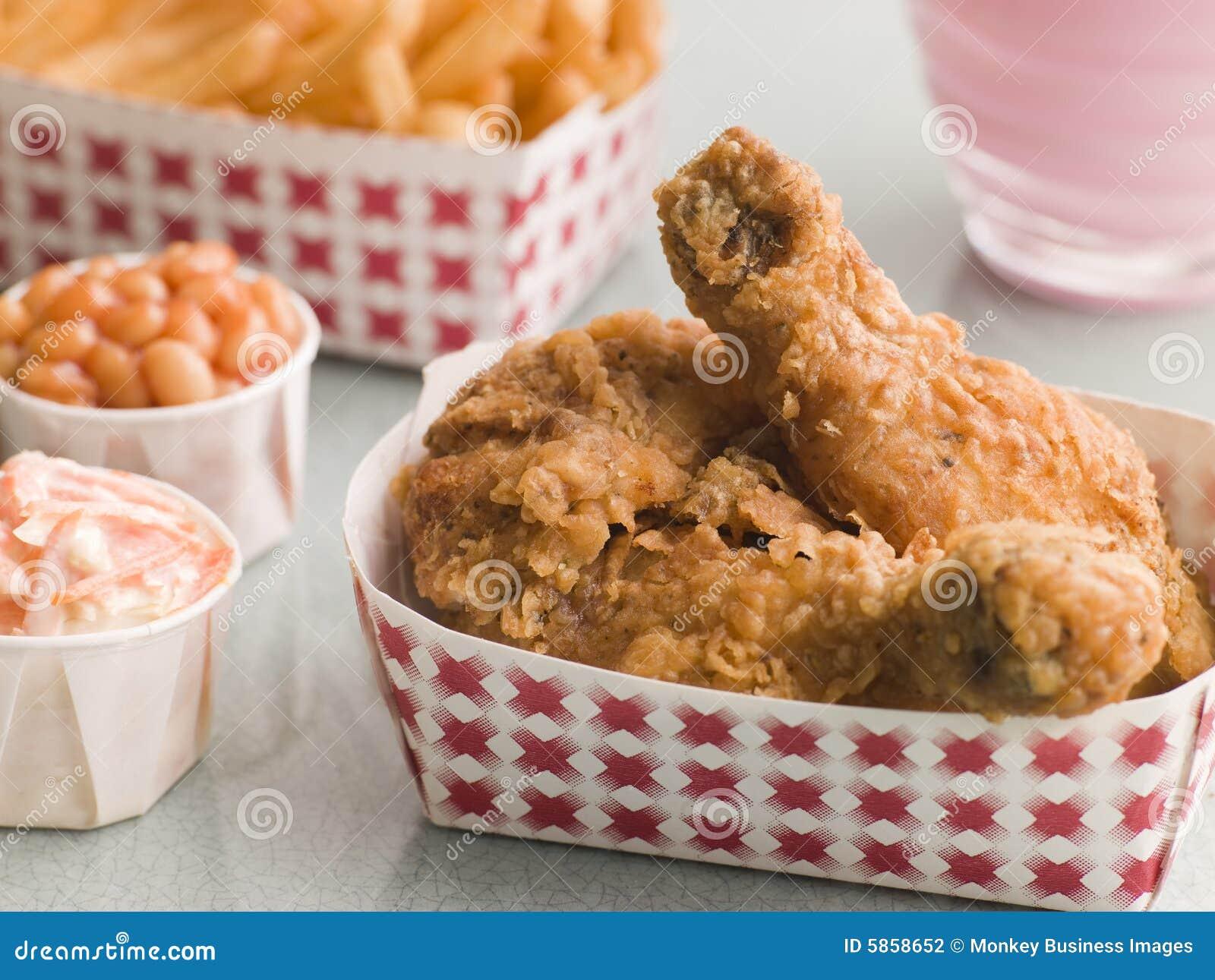 Fritures d haricots cuites au four par salade de choux méridionale de poulet frit