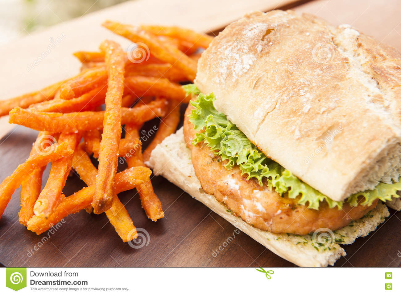 Fritures de Salmon Burger With Sweet Potato