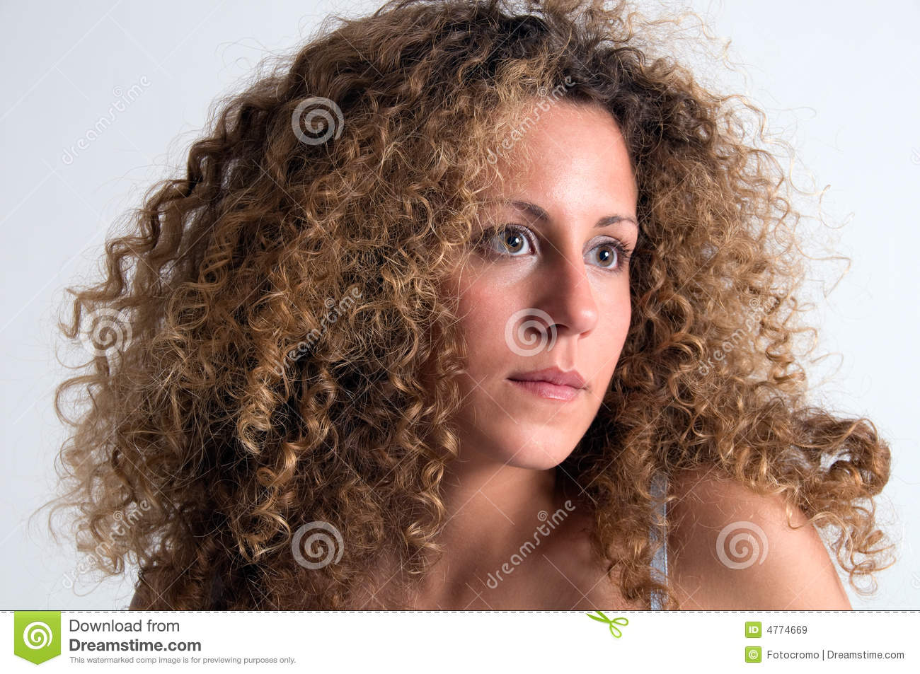 Frizzy Hair Girl Portrait Stock Image Image Of Cheerful