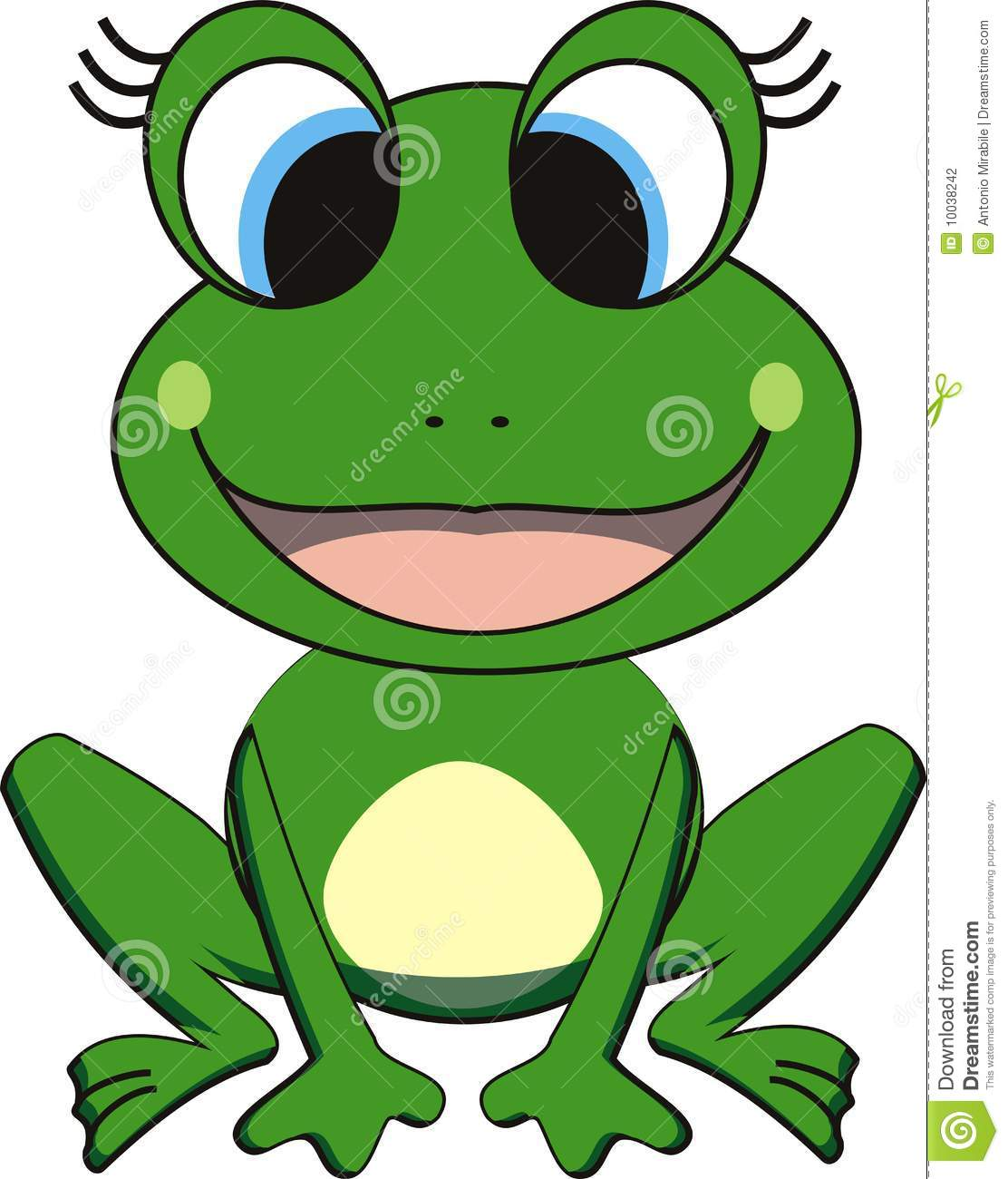 Vector illustration of happy cartoon frog. Isolated.
