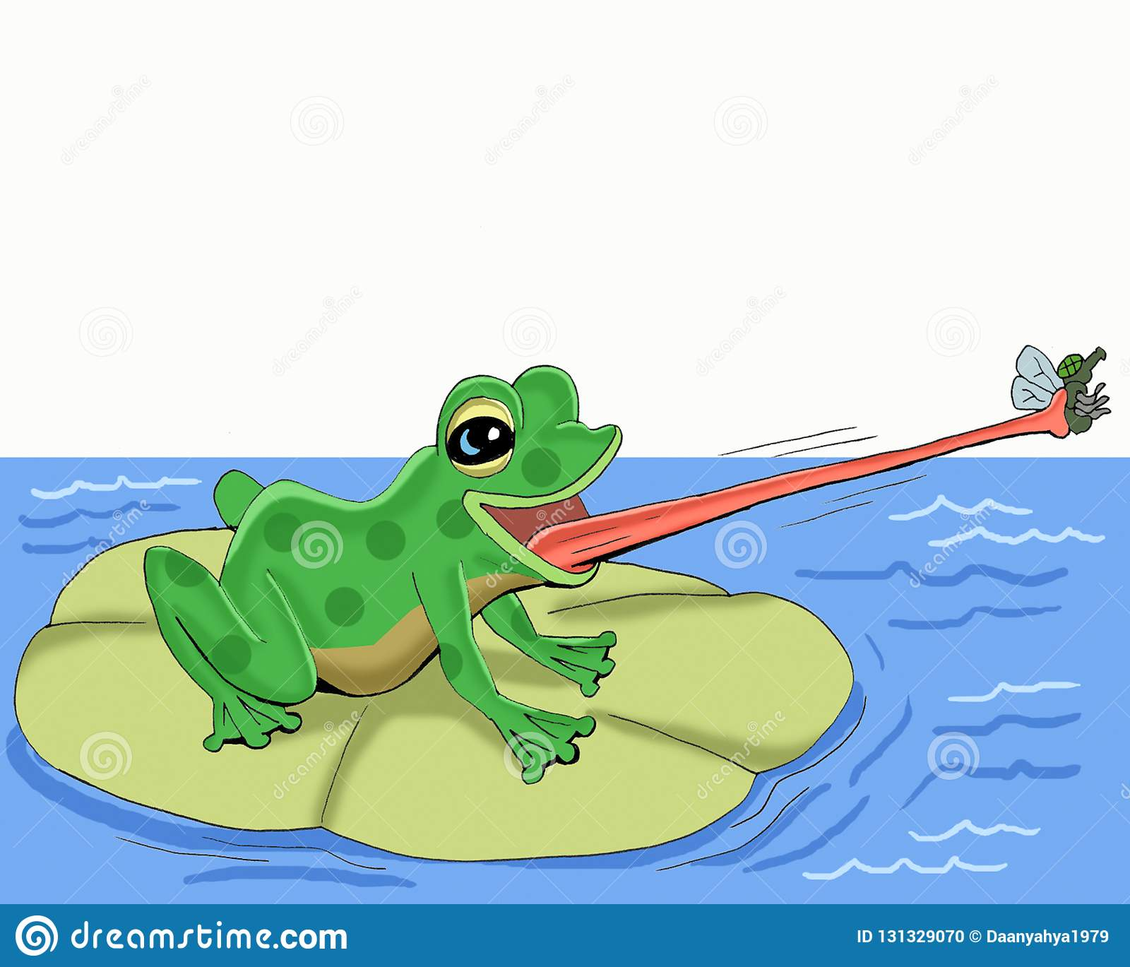 The Frog Catches The Fly With His Tonguecartoon Stock Illustration Illustration Of Feed Like 131329070