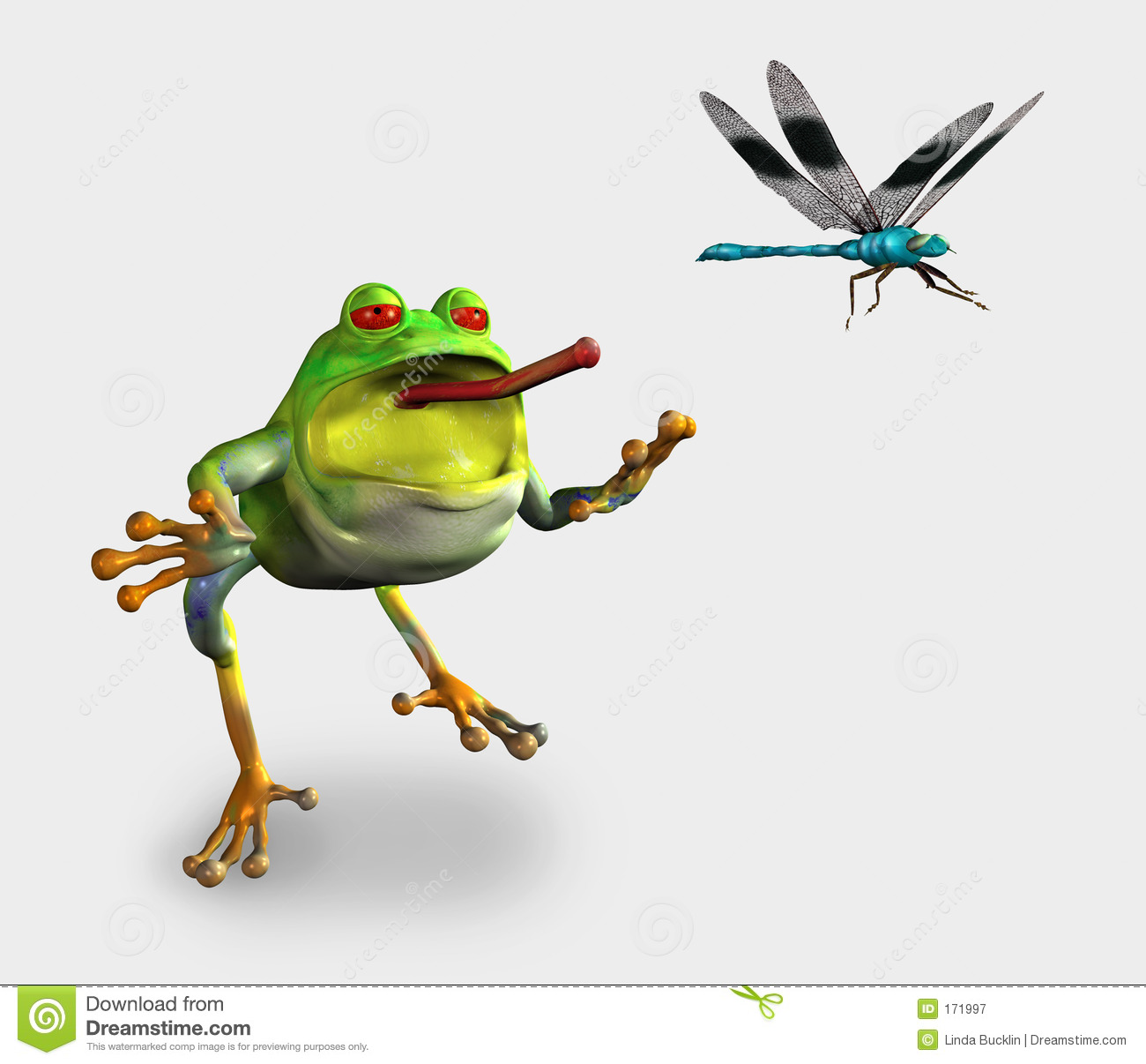 Frog Chasing a Dragonfly - includes clipping path