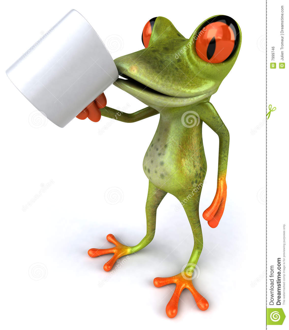 Frog With A Coffee Mug Royalty Free Stock Image - Image: 7999746