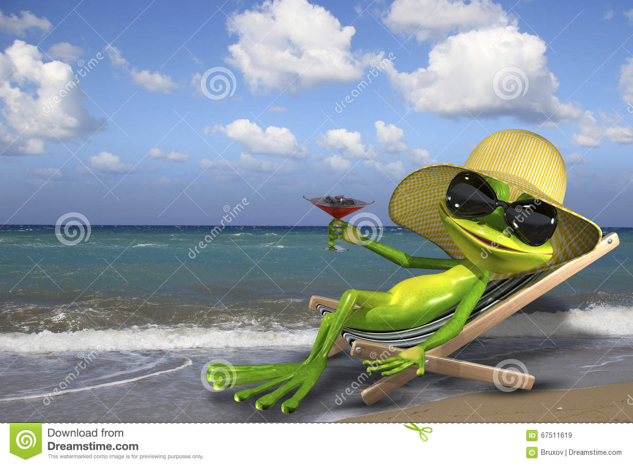 Frog in a deckchair on the beach stock illustration for Chaise longue plage
