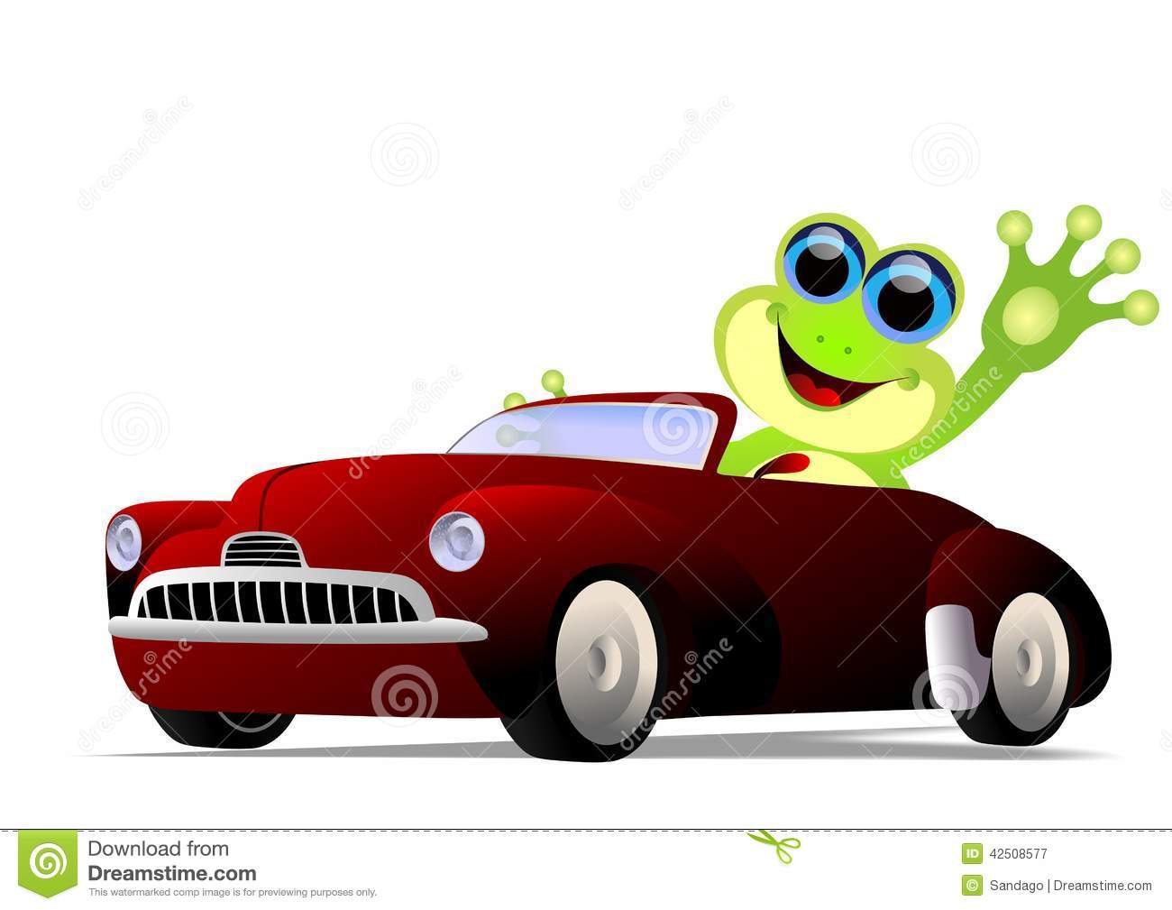 Vector illustration of frog waving while driving a car .
