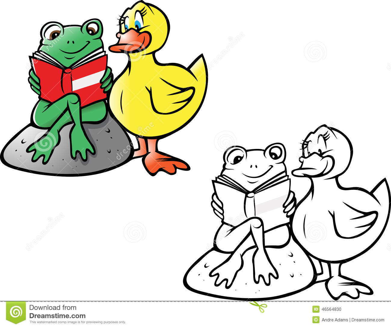 frog and duck reading coloring book stock illustration rh dreamstime com Mallard Duck Clip Art Elephant Clip Art