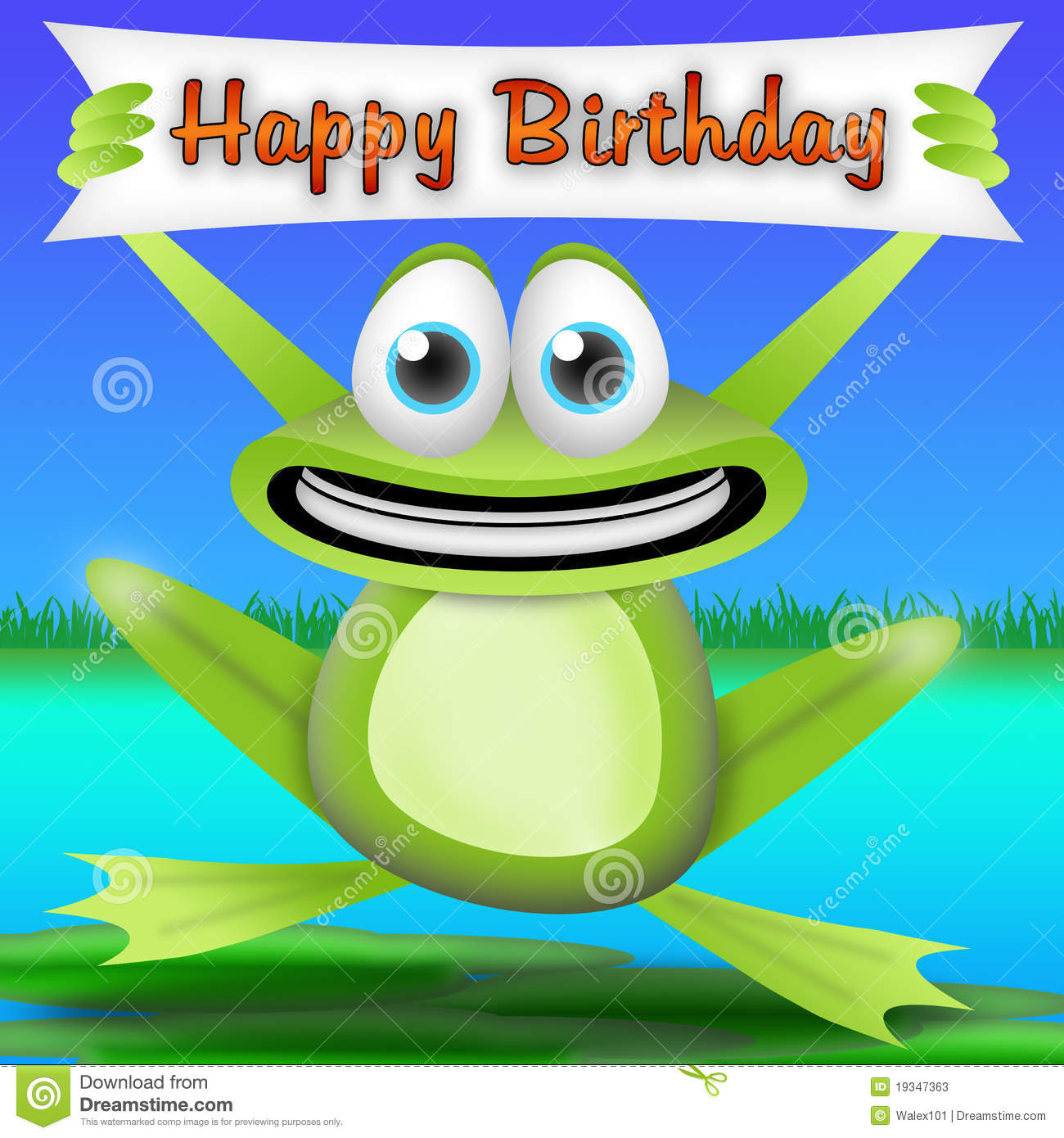Cartoon frog with a happy birthday banner. greeting card for kids.