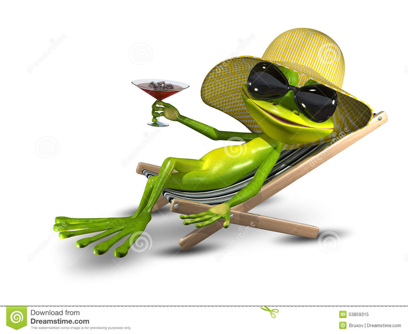 Frog in a hat on a deck chair with a glass stock image for Chaise 3d dessin