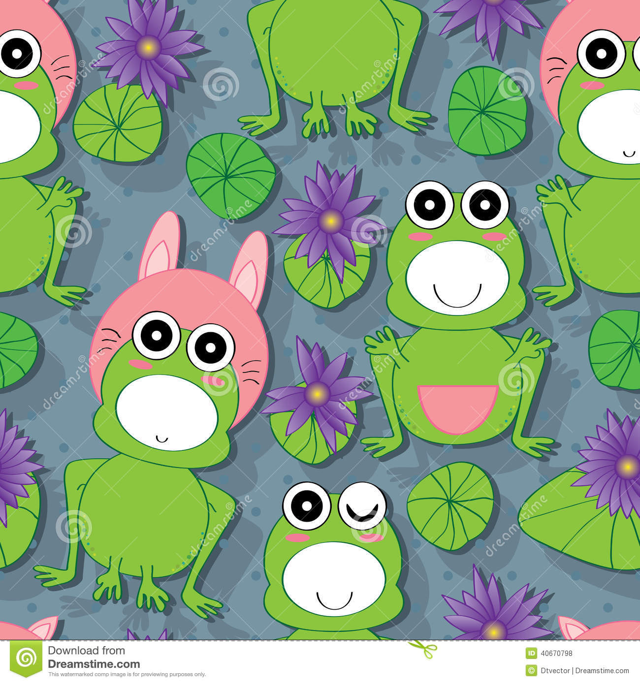 pattern with cartoon frog and butterfly royalty free stock photo