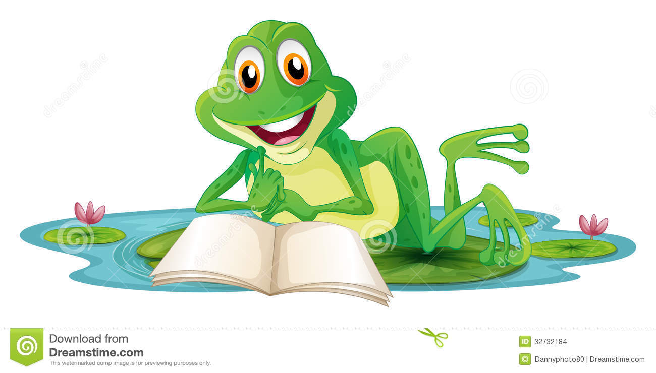 a frog lying while reading a book stock images image lily clipart transparent lily clipart images