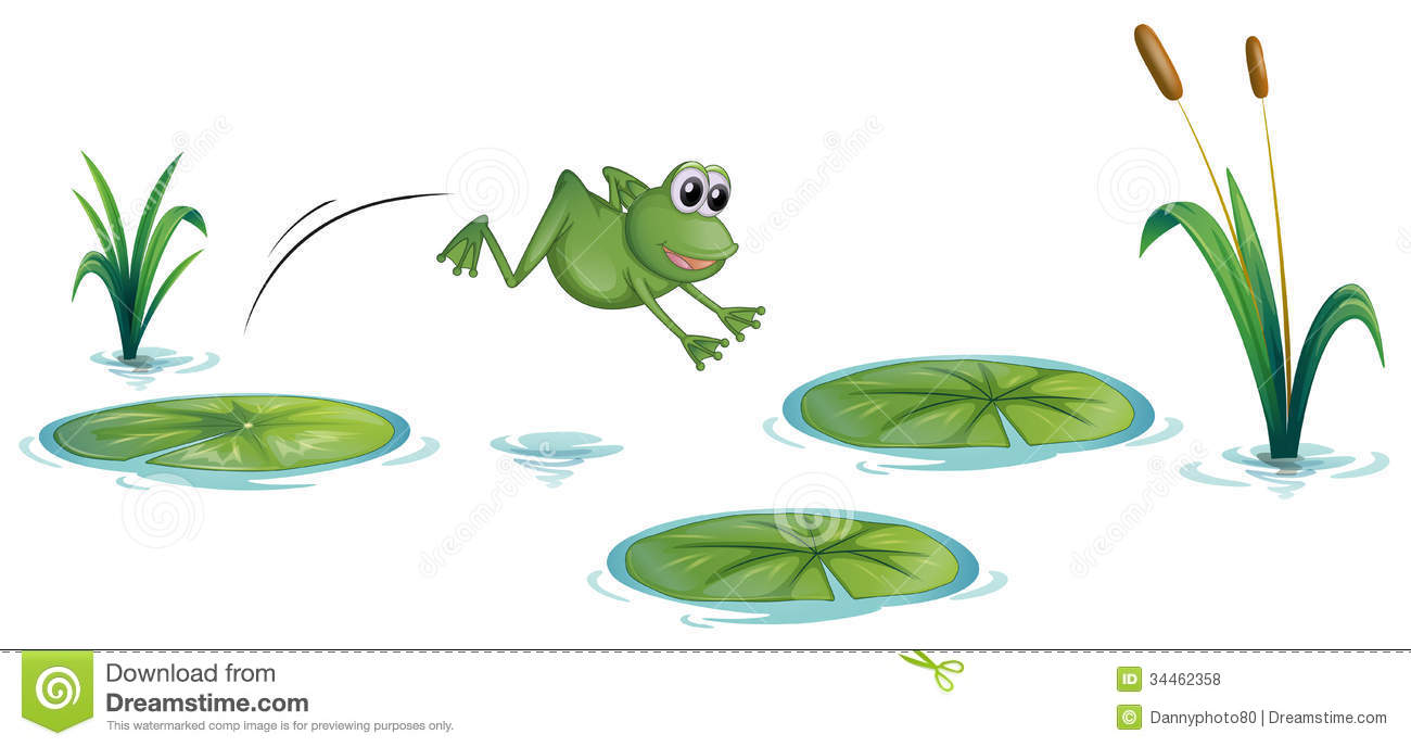 a frog at the pond with waterlilies stock vector image 34462358 Free Frog Clip Art Animated Frog