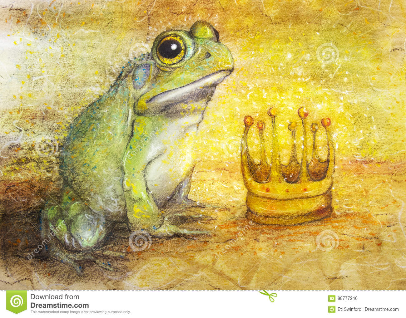 A pastel and color pencil art drawing of a large fat toad or frog looking at a crown reluctantly an abstract concept of a prince that is a frog and with