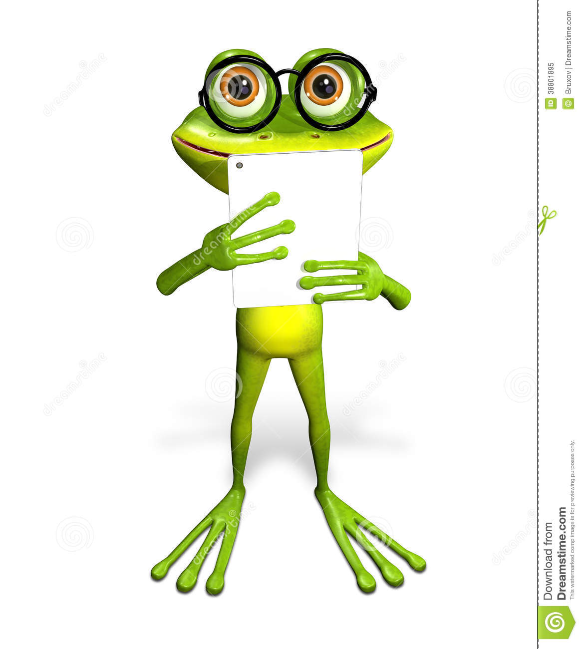 frog with tablet stock illustration illustration of emotions 38801895