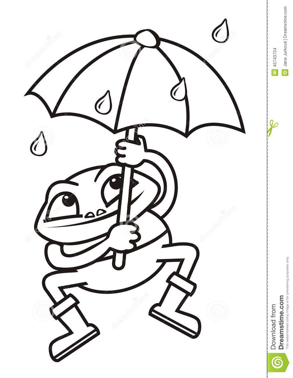 frog and umbrella coloring stock vector image 45743734