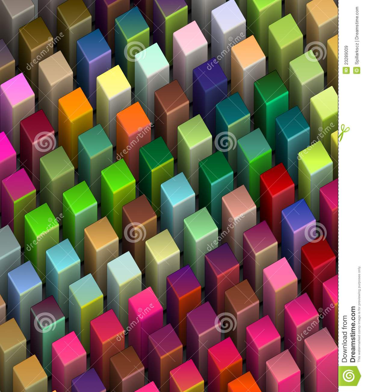 Frog View 3d Beveled Cubes In Bright Colors Stock